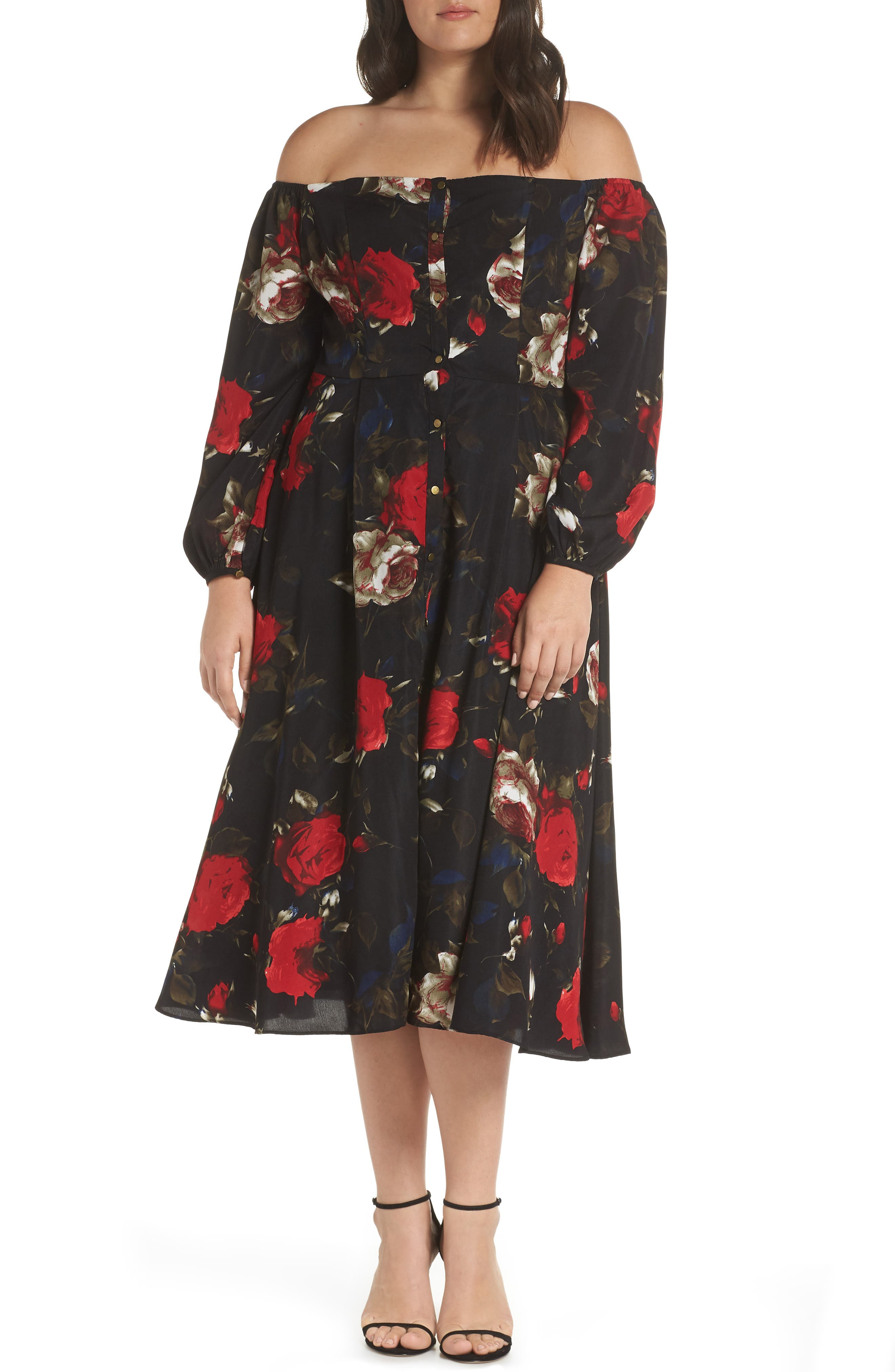 Off the Shoulder Midi Dress,                             Alternate thumbnail 2, color,                             BLACK LUSH ROSE FLORAL