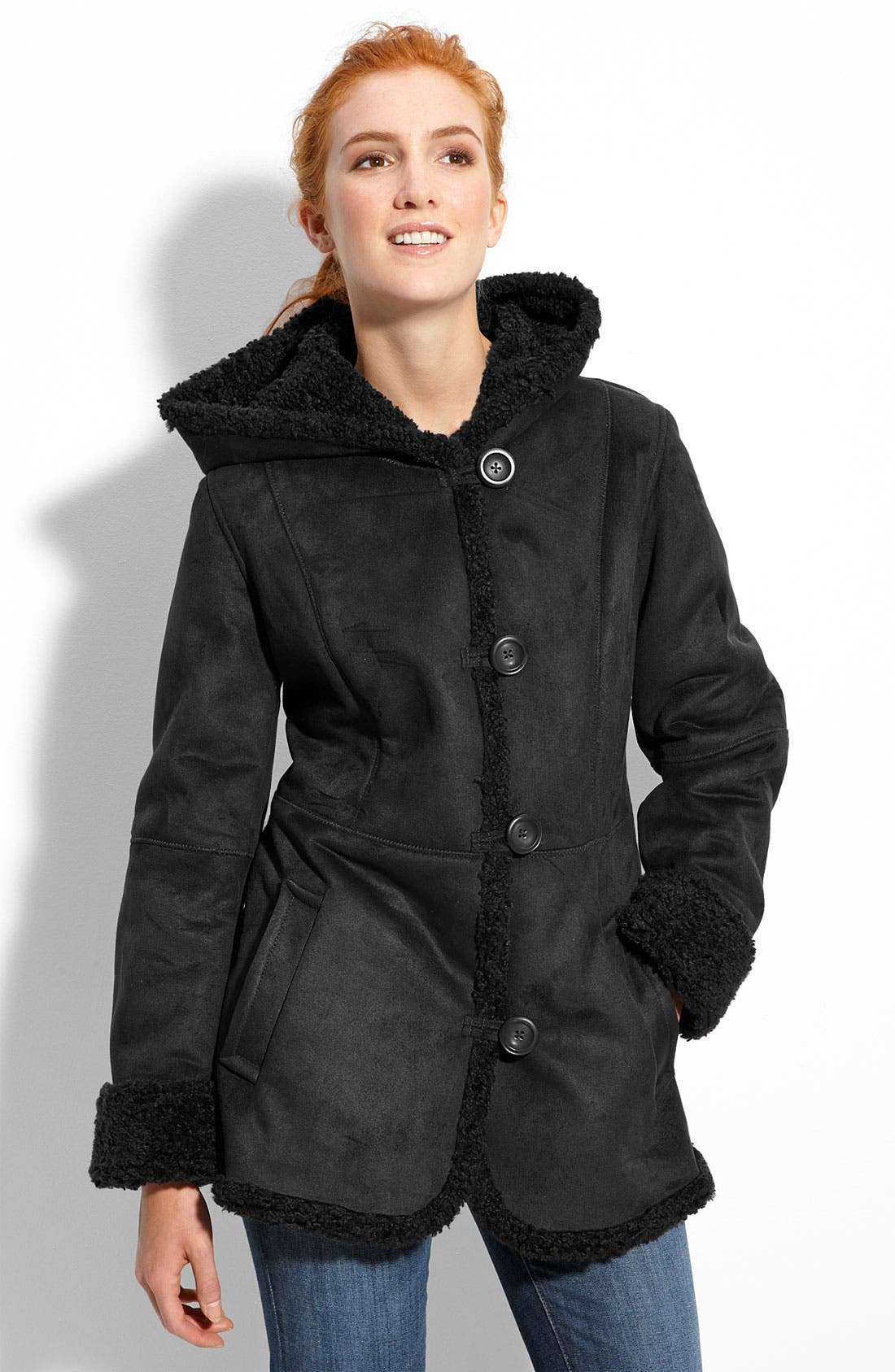 Faux Shearling Hooded Jacket,                             Main thumbnail 1, color,                             001