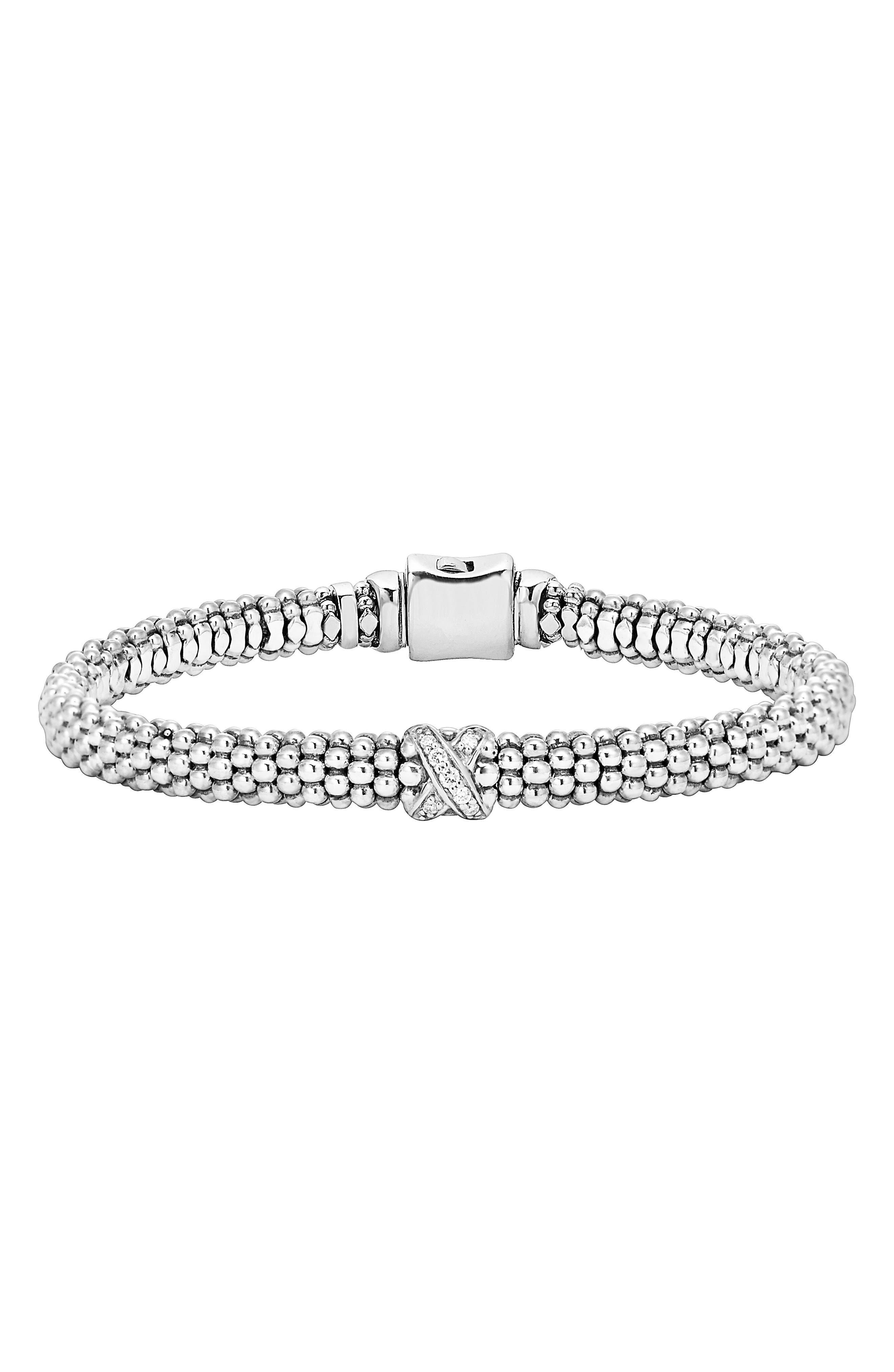 Caviar 'Signature Caviar' Diamond Rope Bracelet,                             Main thumbnail 1, color,                             STERLING SILVER