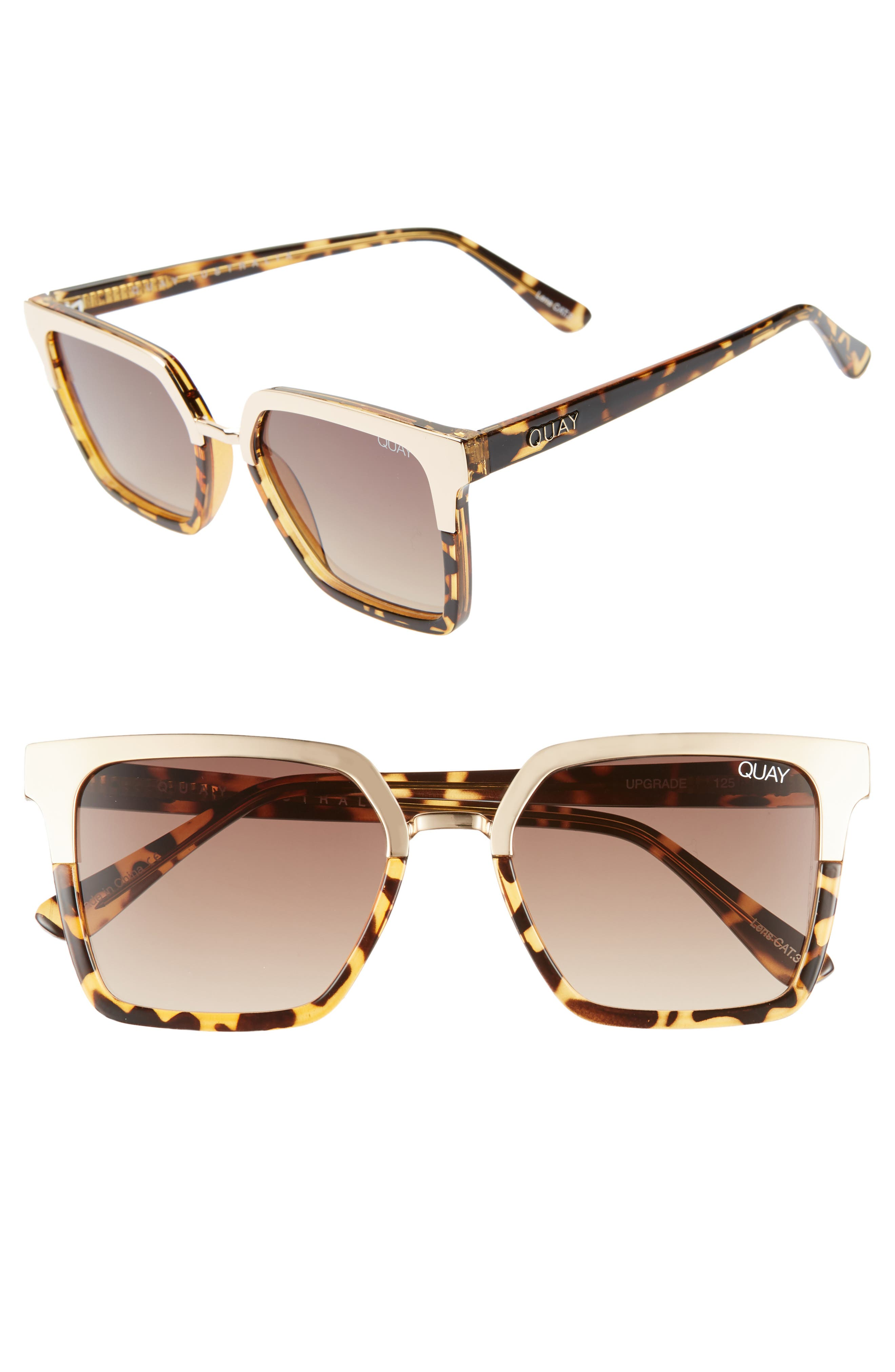 x Jaclyn Hill Upgrade 55mm Square Sunglasses,                             Main thumbnail 1, color,                             TORT GOLD / BROWN