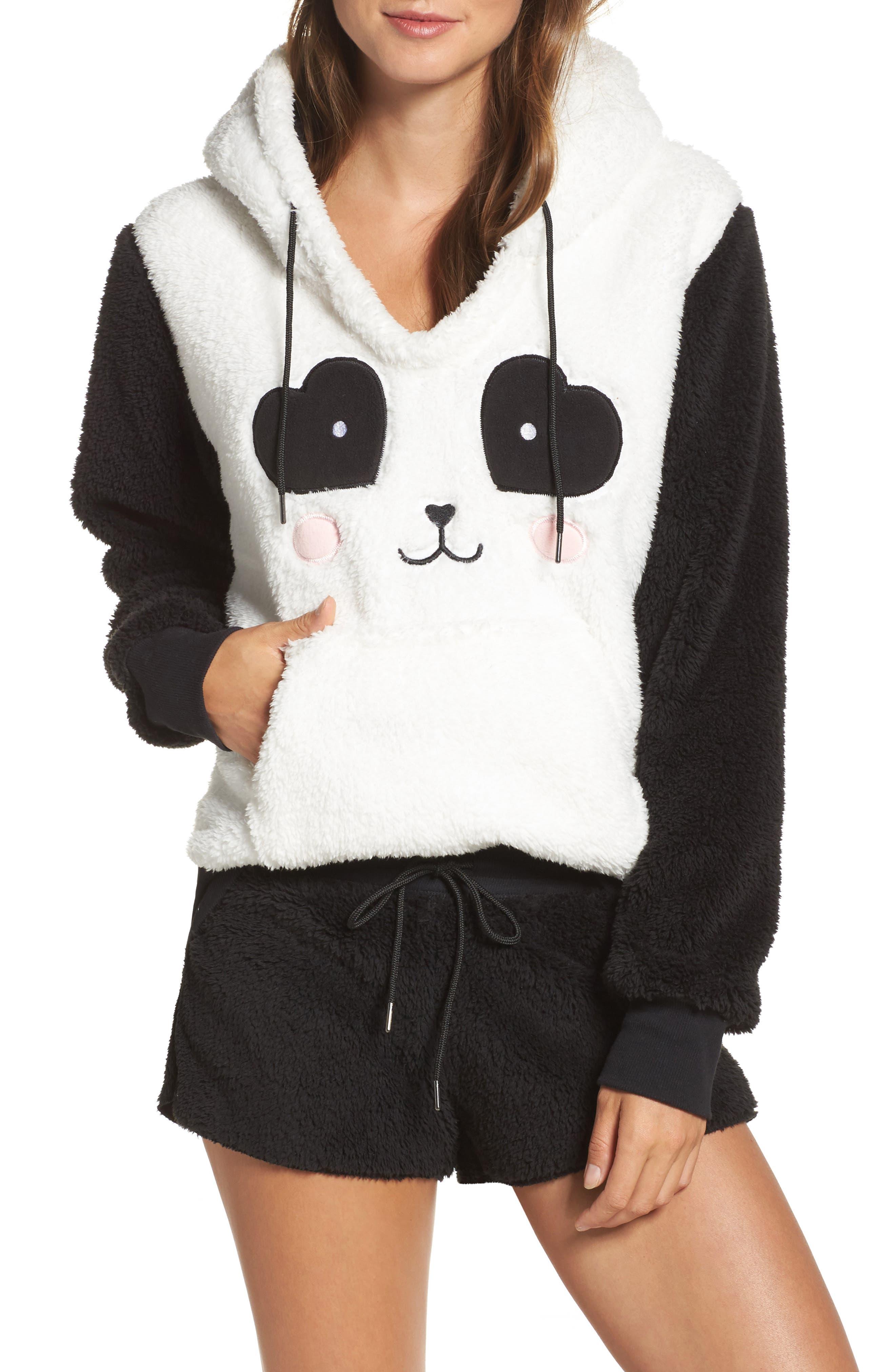 Hooded Plush Pajamas,                             Main thumbnail 1, color,                             001