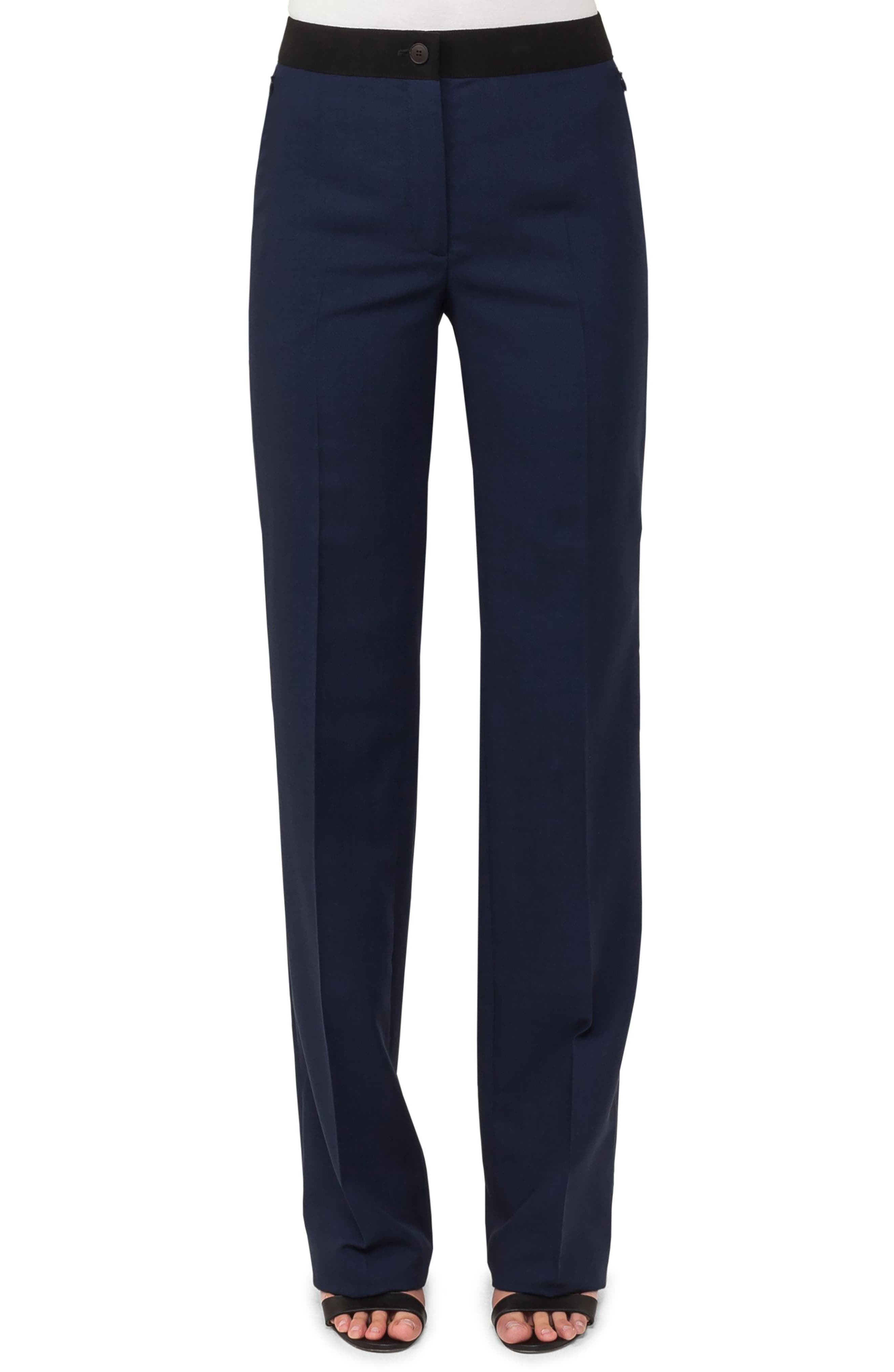 AKRIS Carl Double Face Stretch Wool & Silk Trousers, Main, color, DENIM BLACK