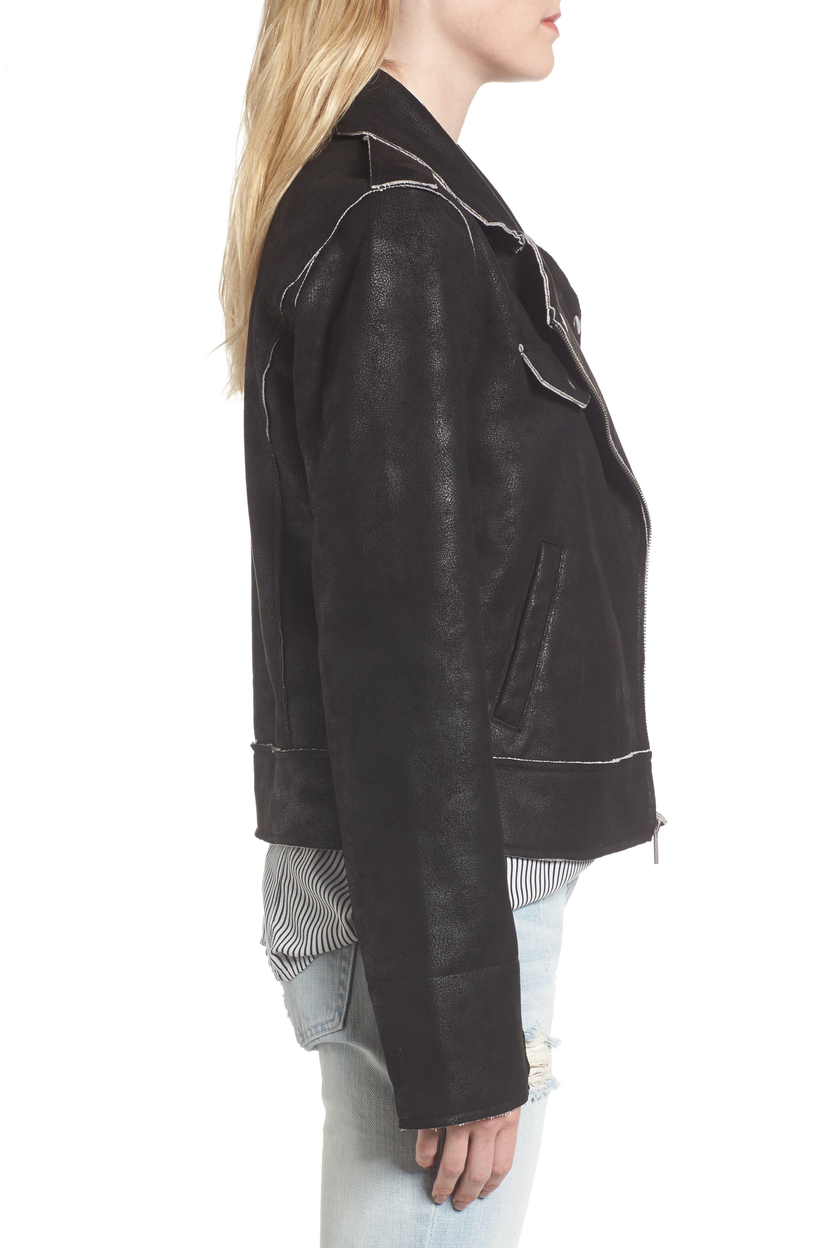 Faux Leather Moto Jacket,                             Alternate thumbnail 3, color,                             001