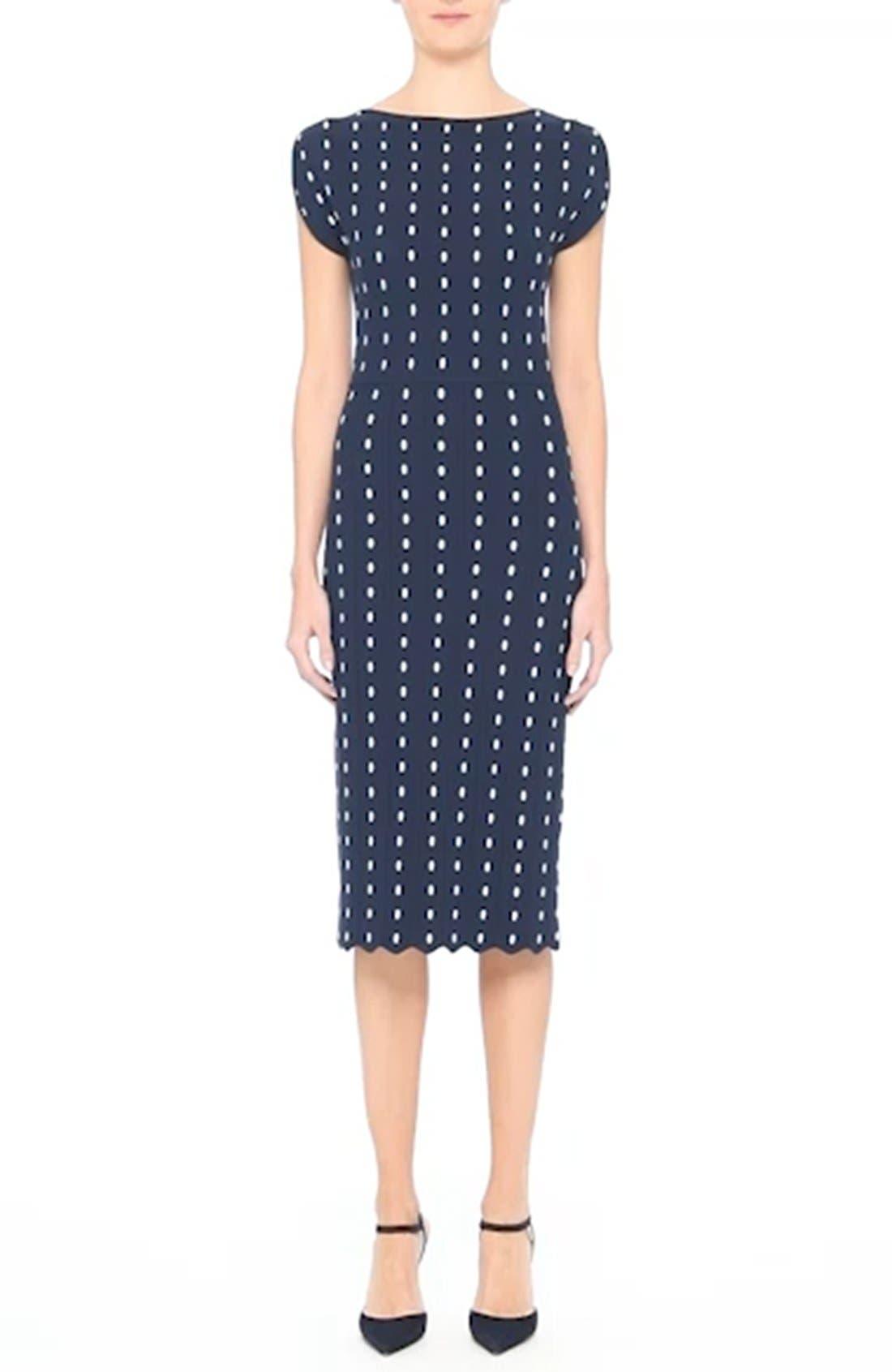 Dot Knit Sheath Dress,                             Alternate thumbnail 8, color,                             400
