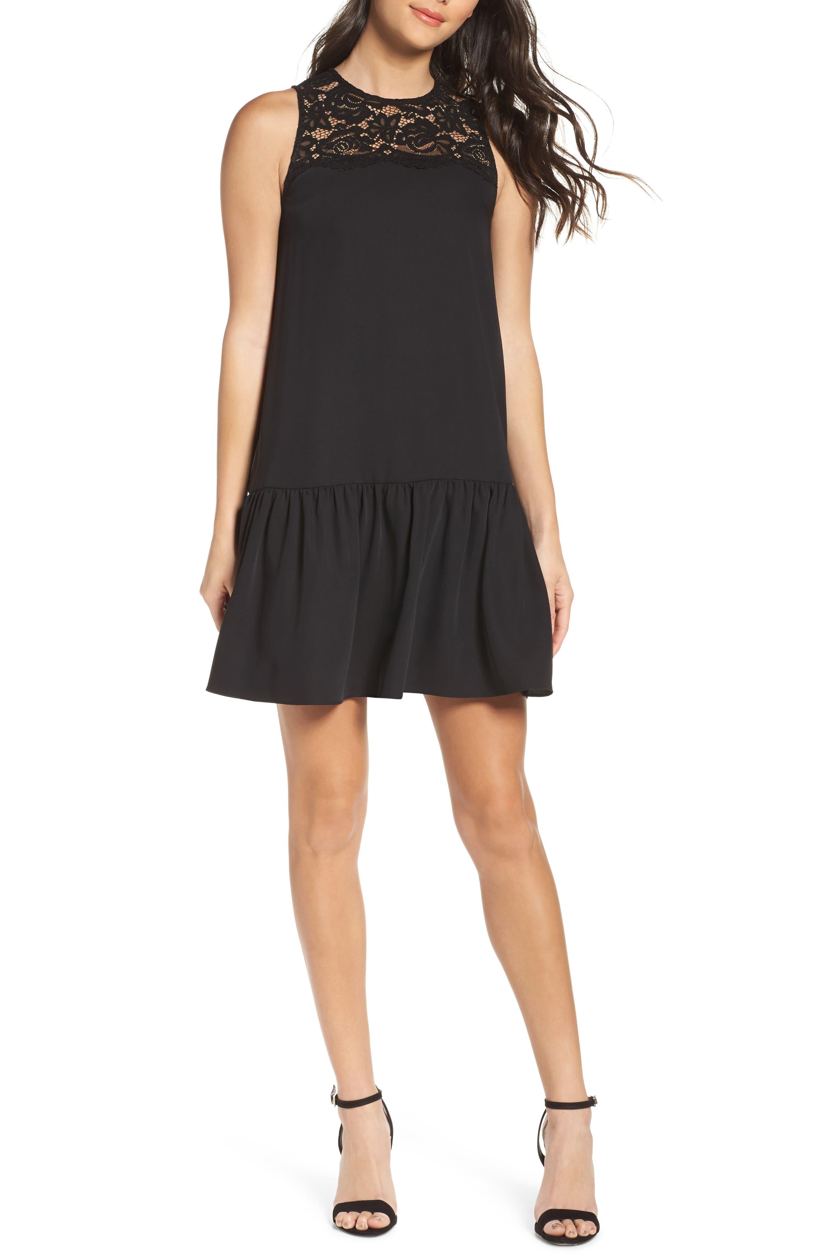 Lace & Crepe Shift Dress,                             Main thumbnail 1, color,                             010