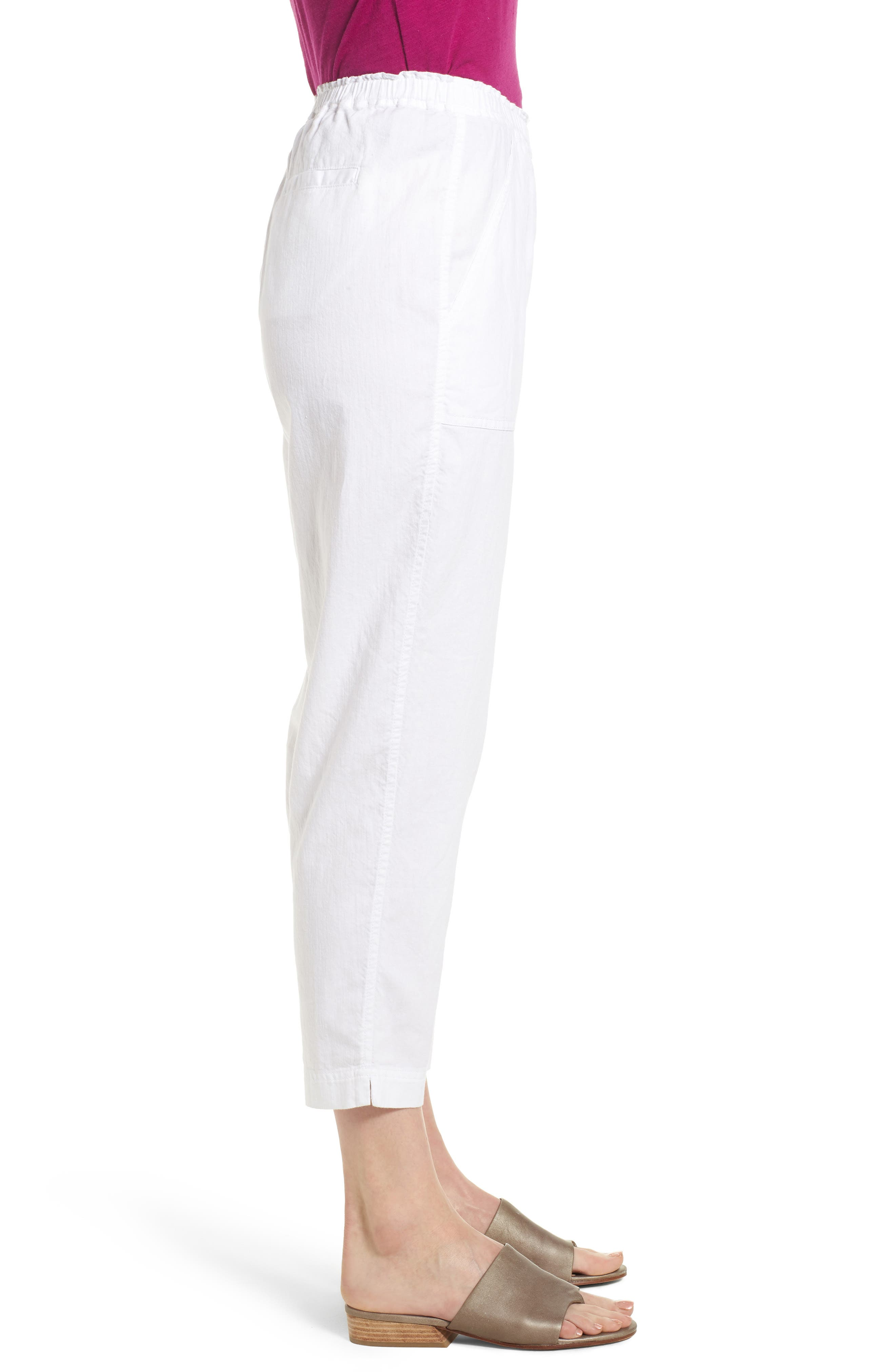 Tapered Organic Cotton Crop Pants,                             Alternate thumbnail 3, color,                             WHITE