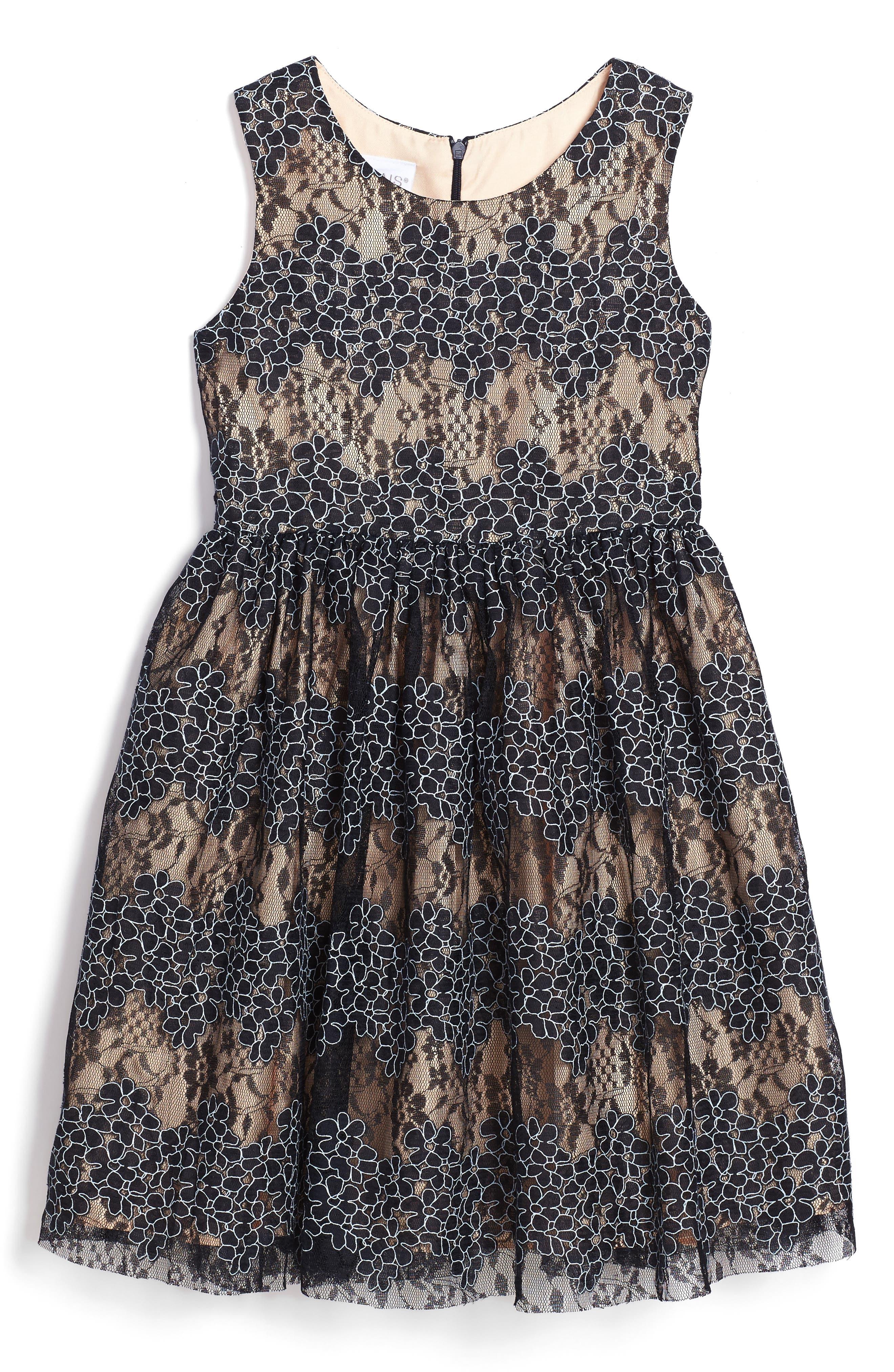 Floral Lace Dress,                             Main thumbnail 1, color,                             410