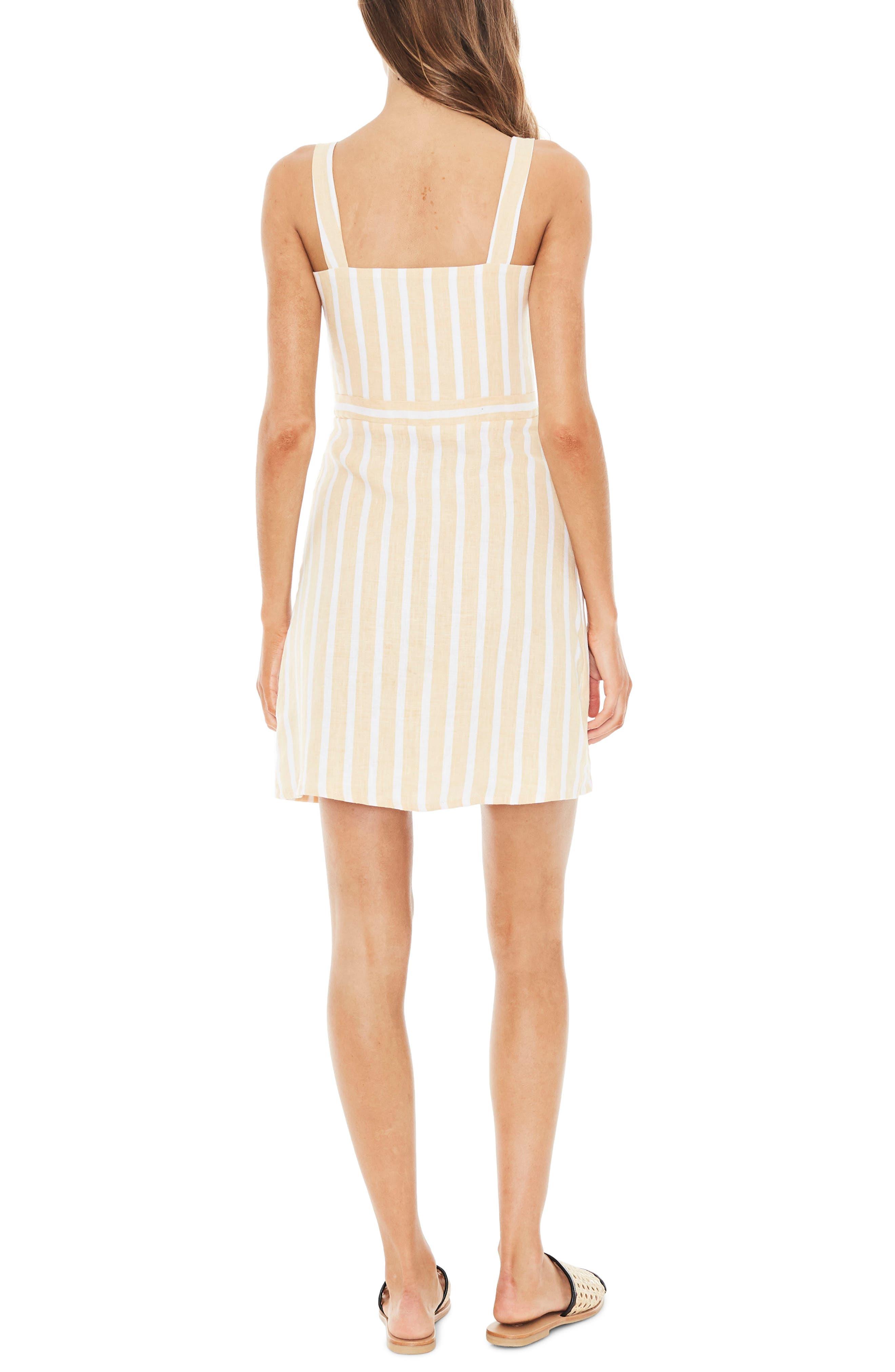 Le Petite Stripe Linen Dress,                             Alternate thumbnail 2, color,                             MAZUR STRIPE PRINT - LEMON