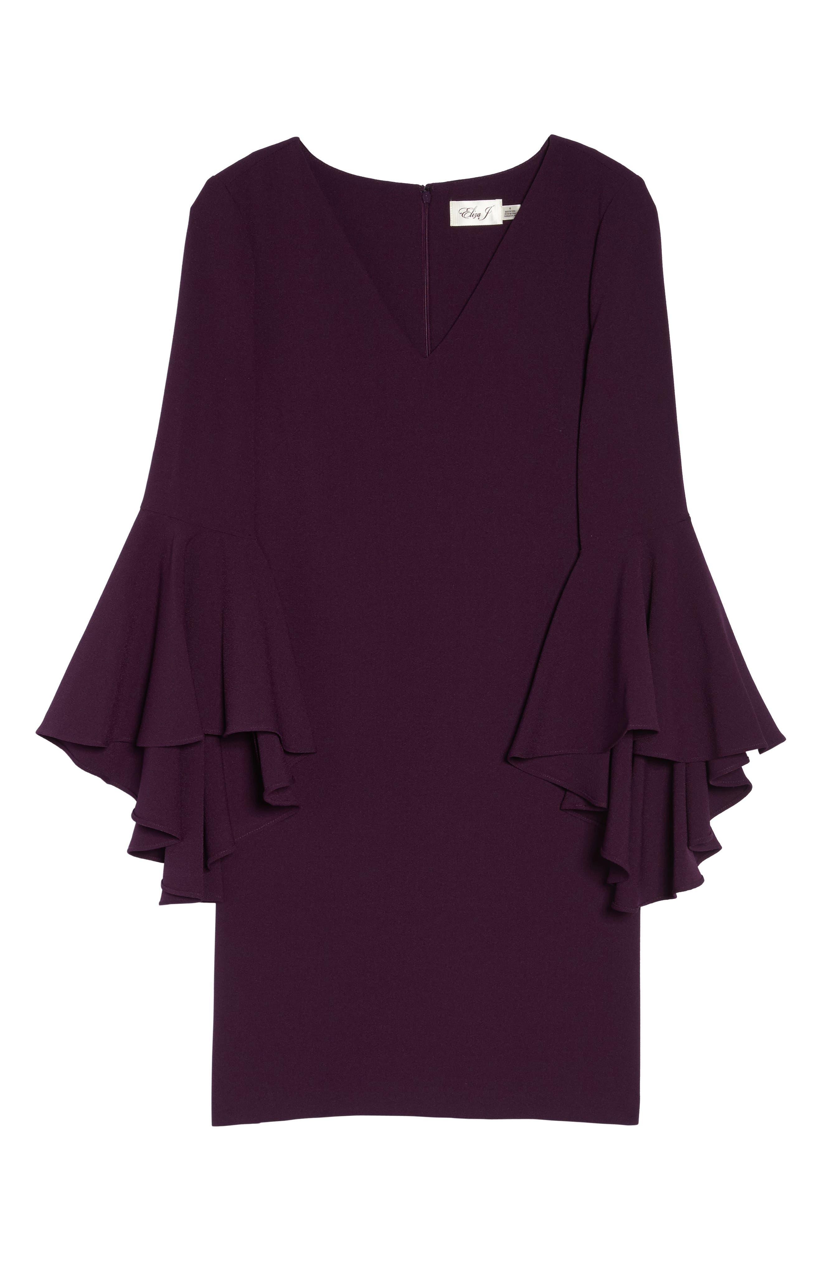 Bell Sleeve Crepe Shift Dress,                             Alternate thumbnail 23, color,