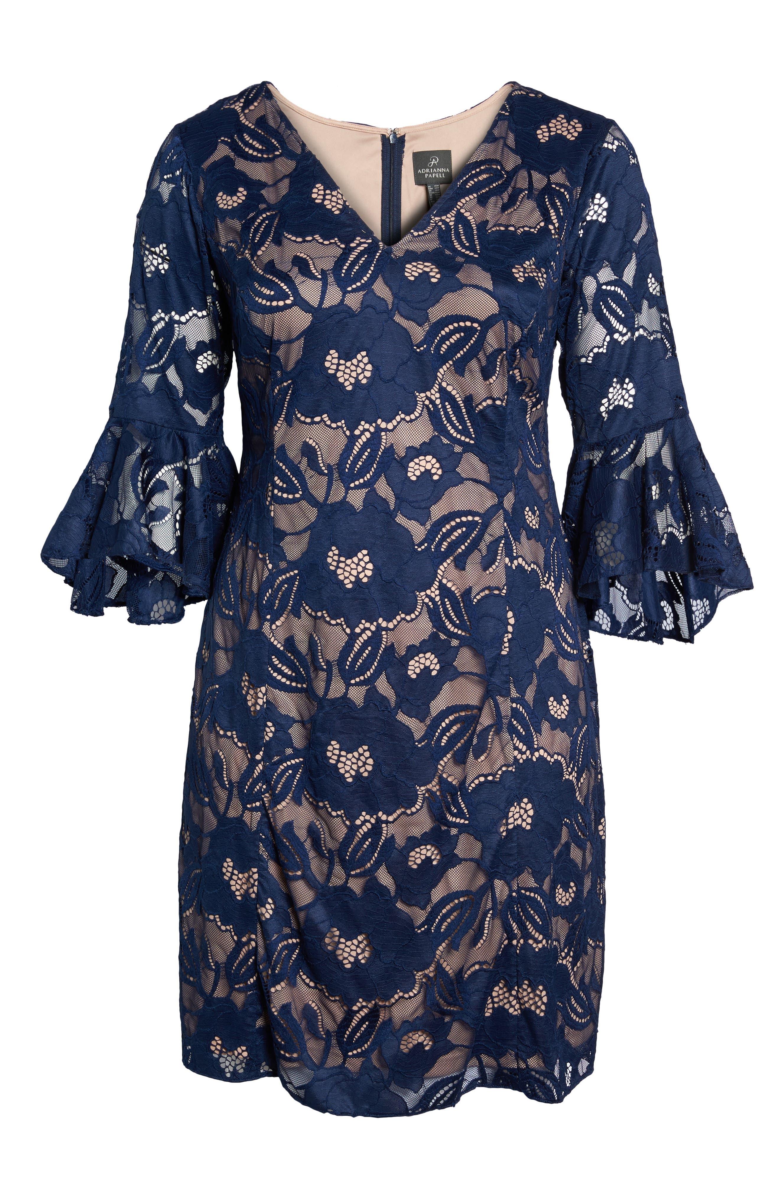 Ruffle Sleeve Lace Dress,                             Alternate thumbnail 6, color,                             412