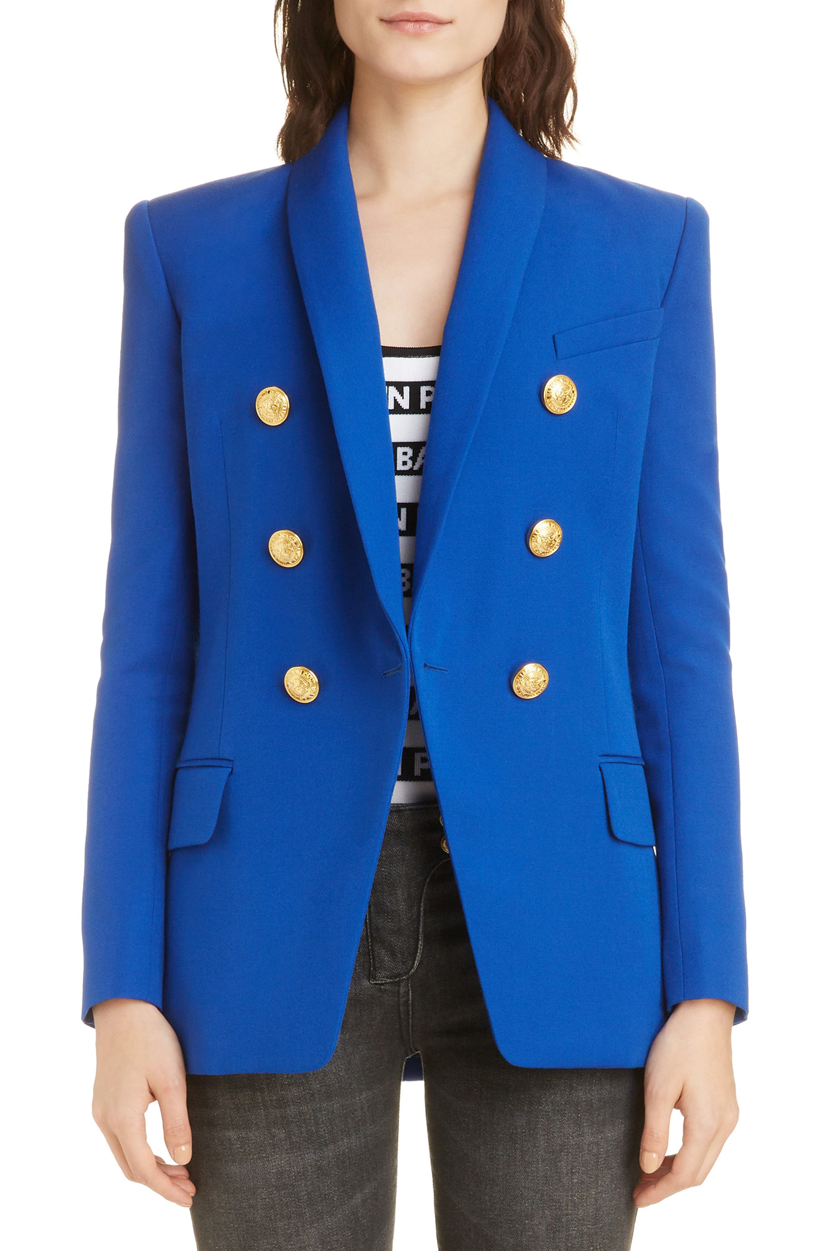 Long Double Breasted Wool Jacket by Balmain