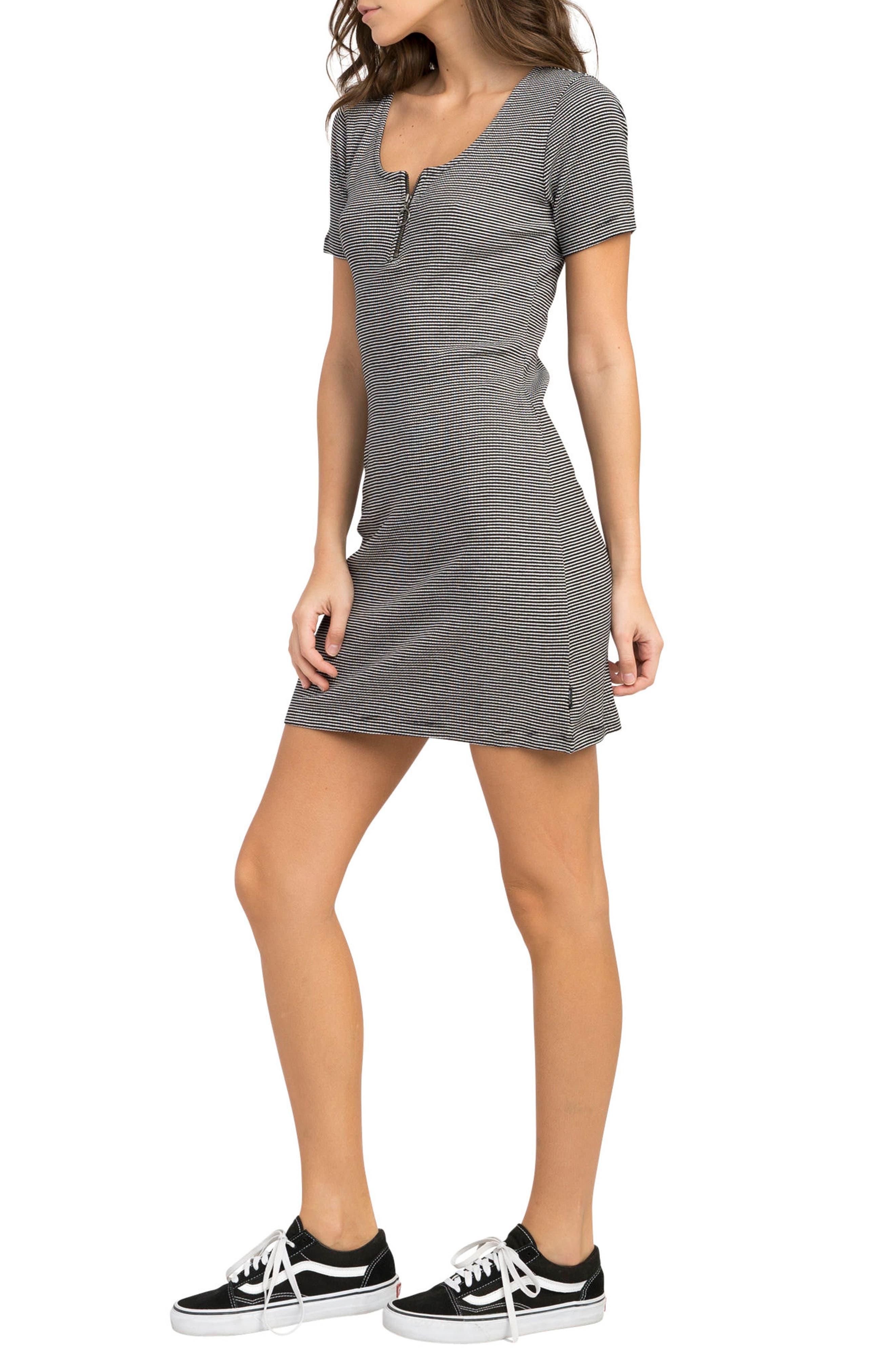 Zip It Striped Dress,                             Alternate thumbnail 3, color,                             001