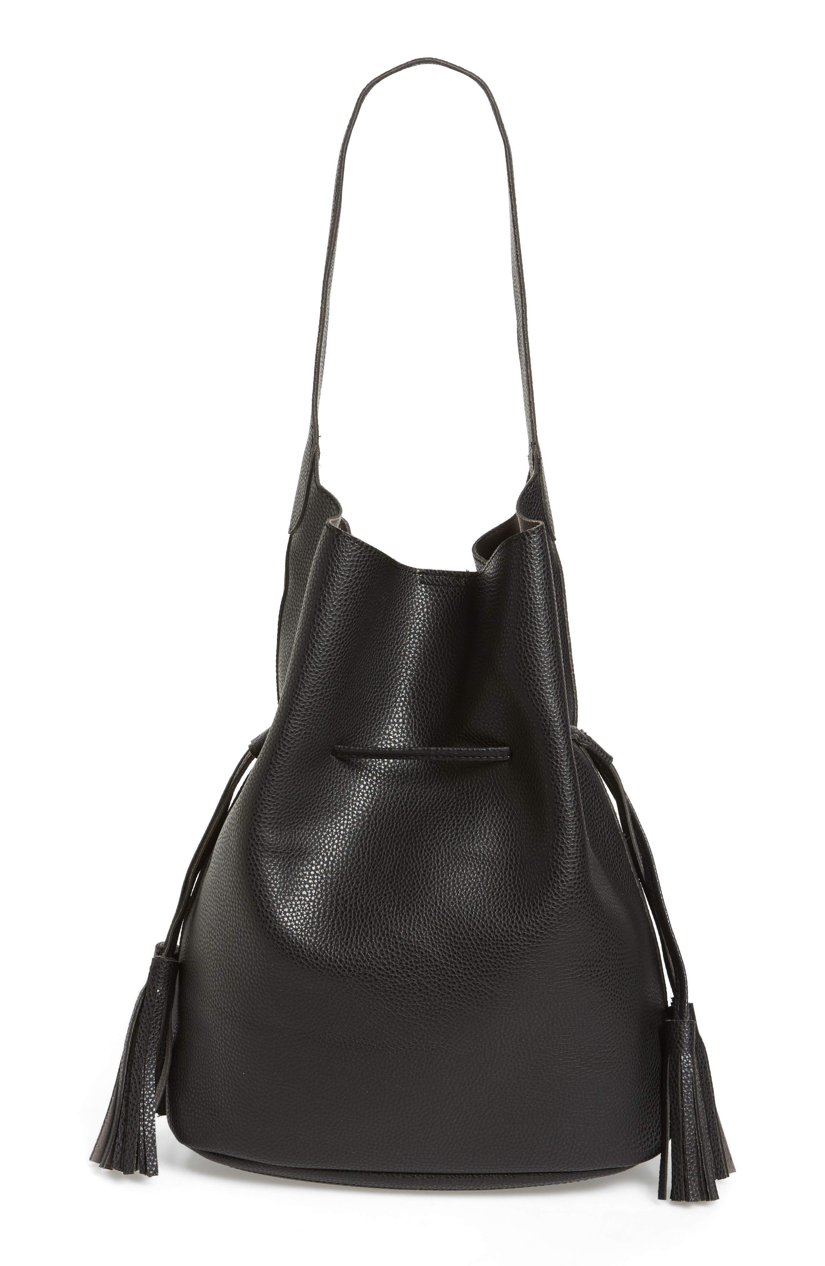 Drawstring Faux Leather Bucket Bag,                             Main thumbnail 1, color,                             001