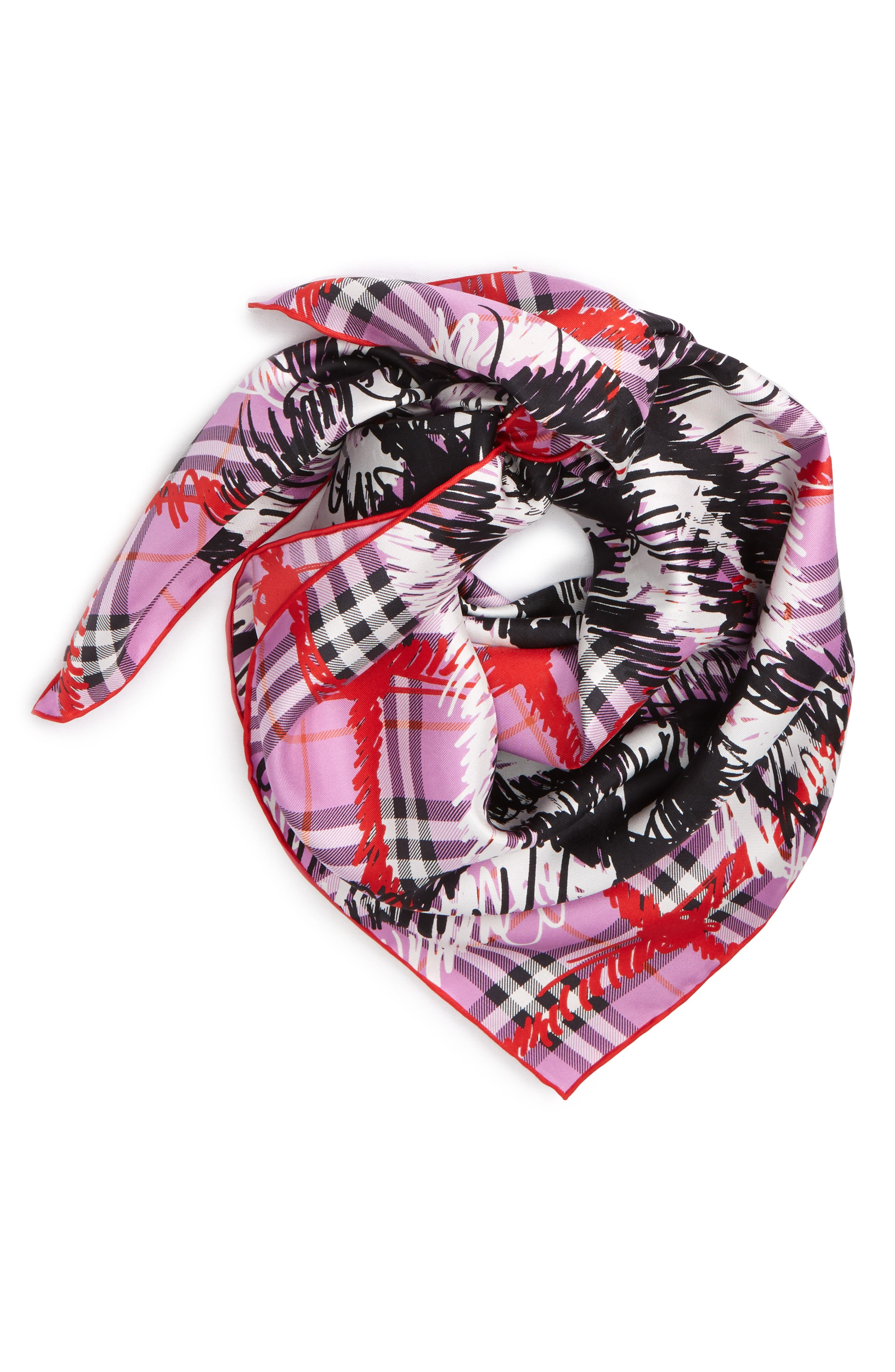 Scribble Vintage Check Silk Square Scarf,                             Alternate thumbnail 3, color,                             FUCHSIA PINK