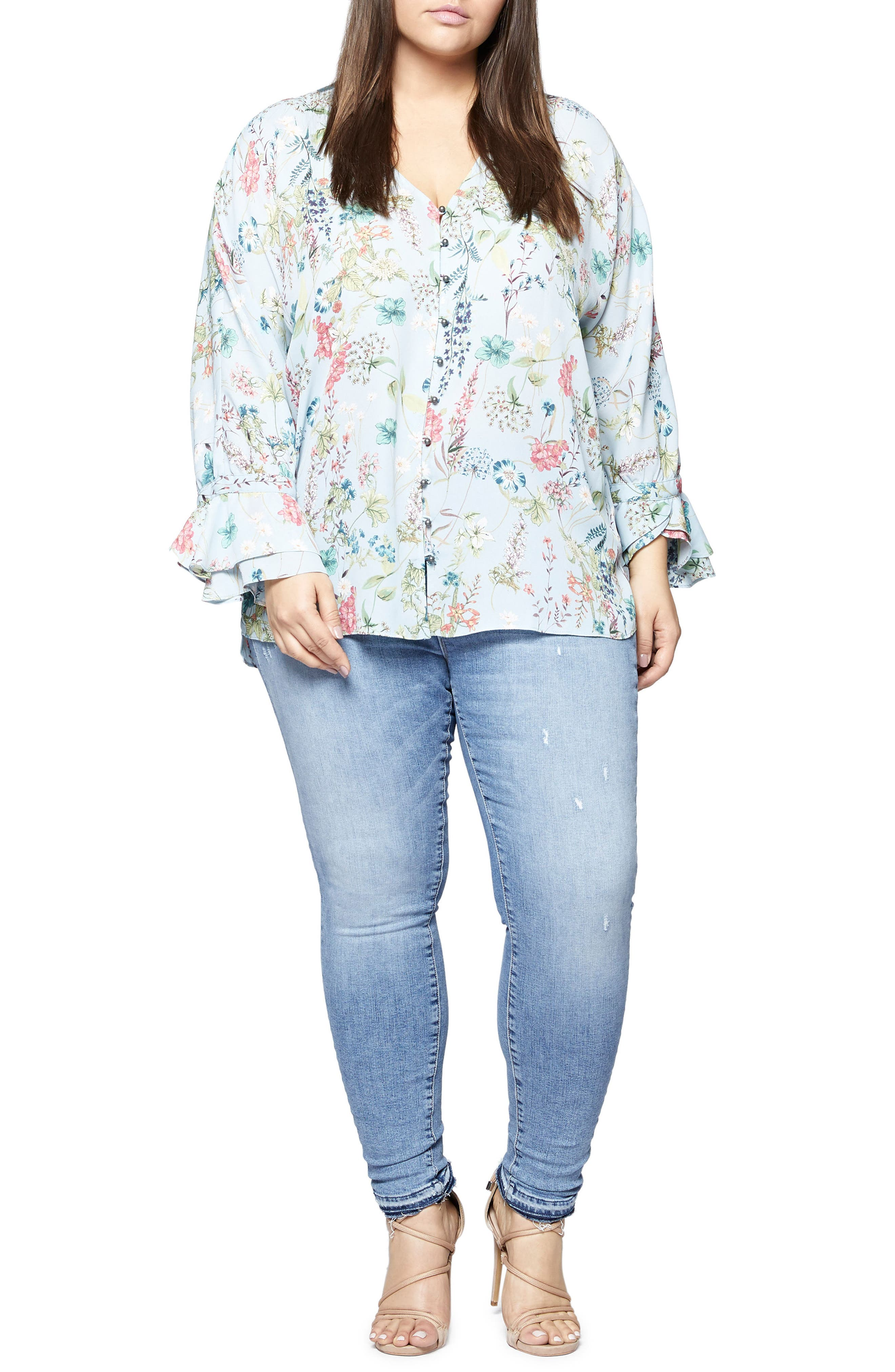 Posey Floral Blouse,                             Alternate thumbnail 3, color,                             450