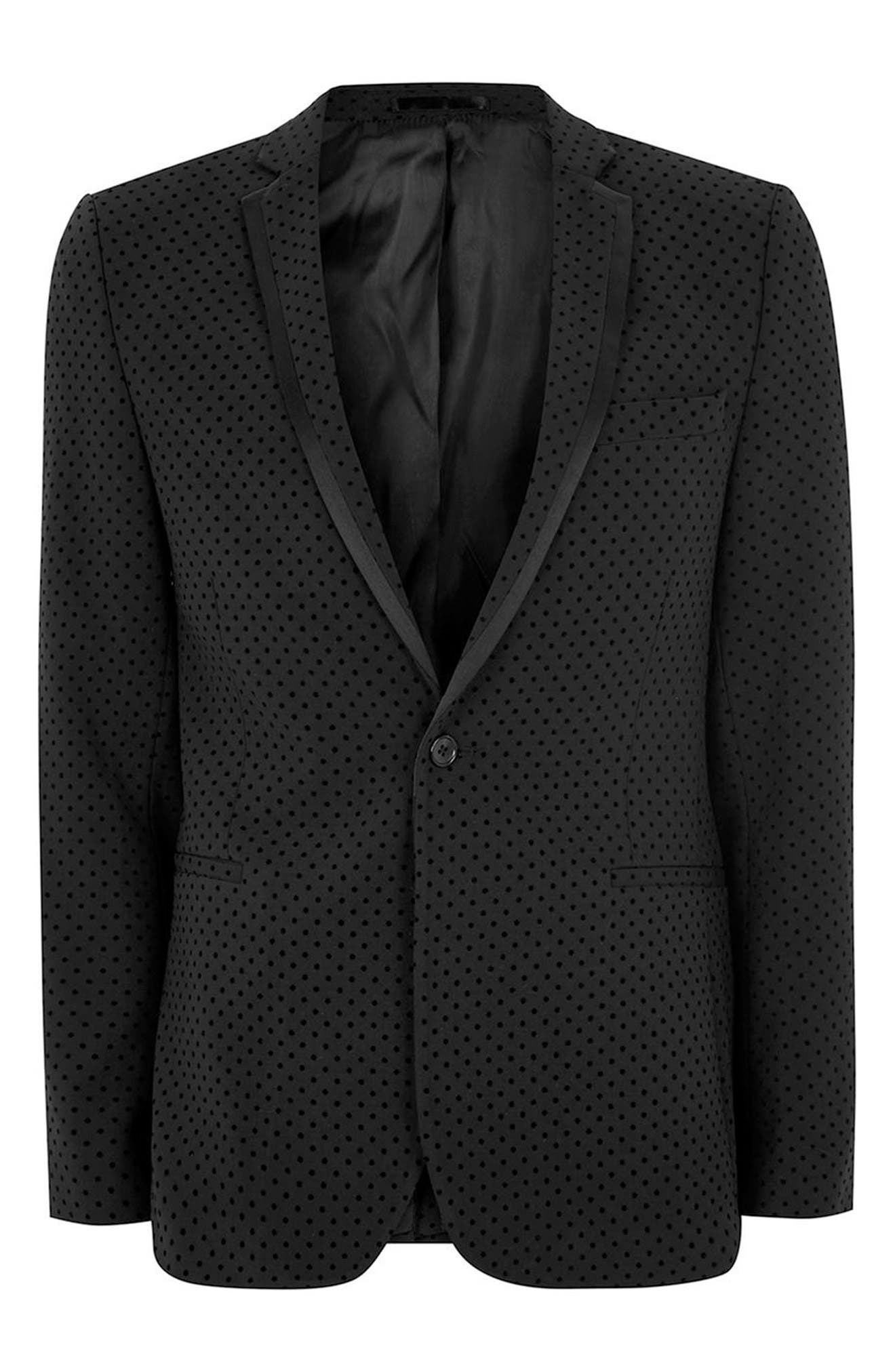Dotted Ultra Skinny Fit Suit Jacket,                             Alternate thumbnail 4, color,                             001