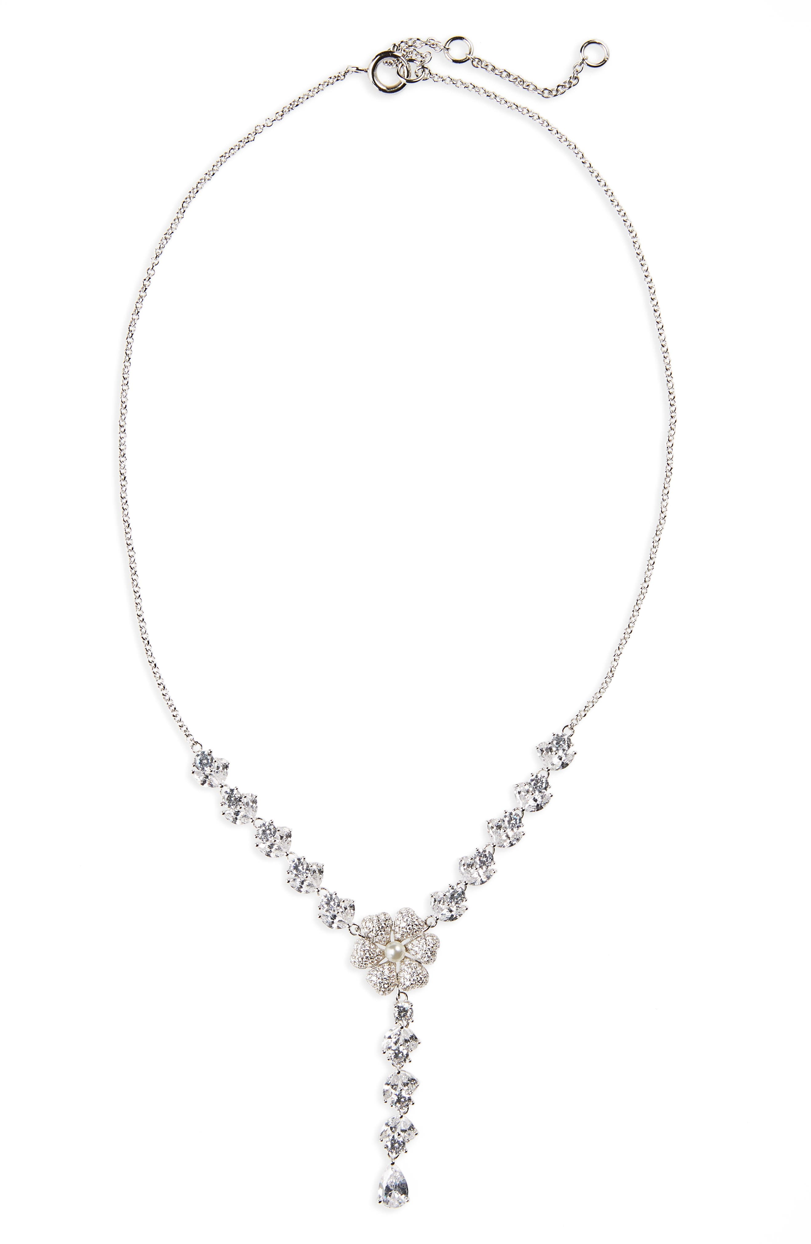 Swarovski Crystal & Imitation Pearl Flower Y-Necklace,                             Main thumbnail 1, color,                             IVORY PEARL / SILVER