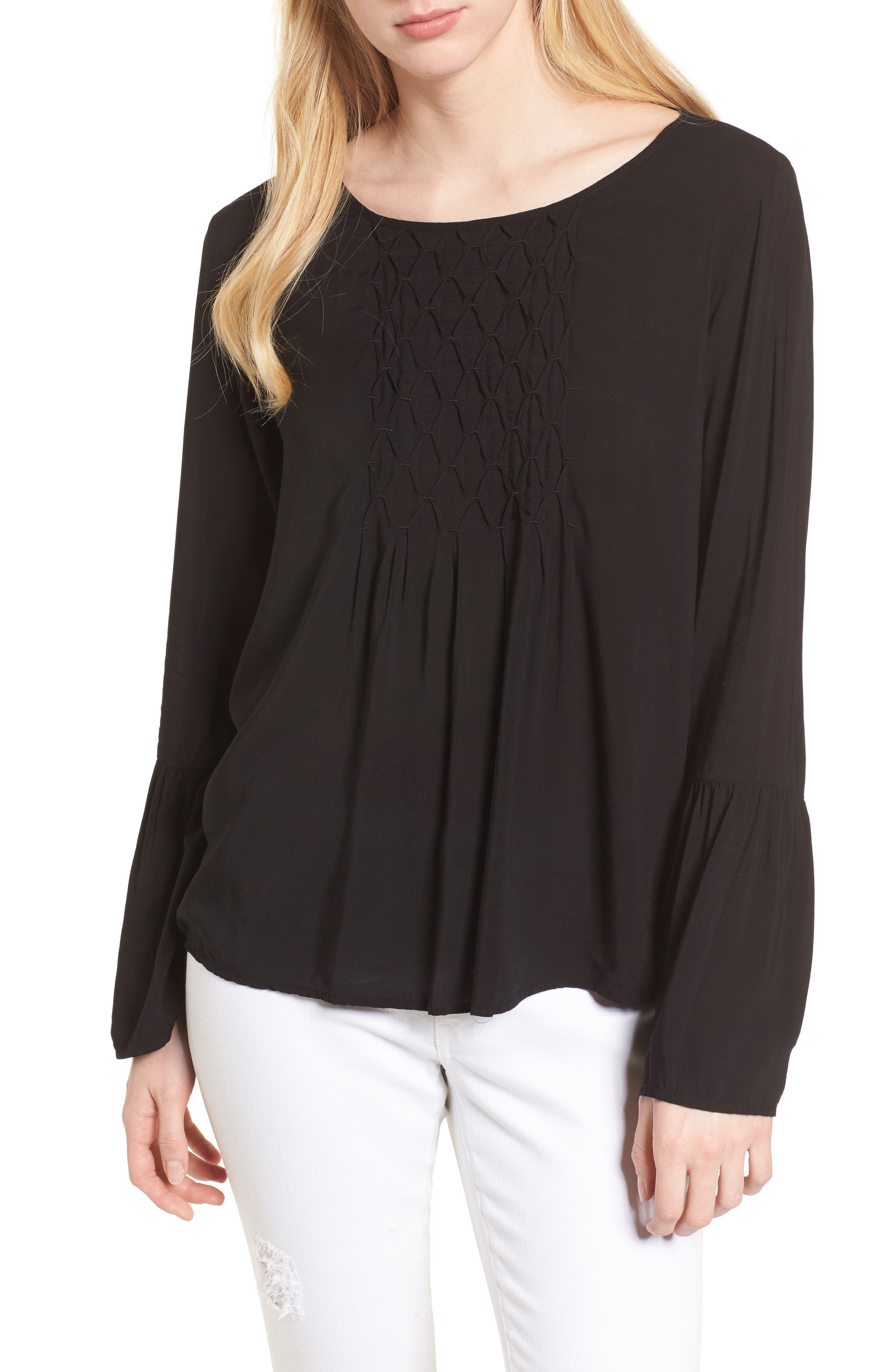 Bell Cuff Blouse,                         Main,                         color, BLACK