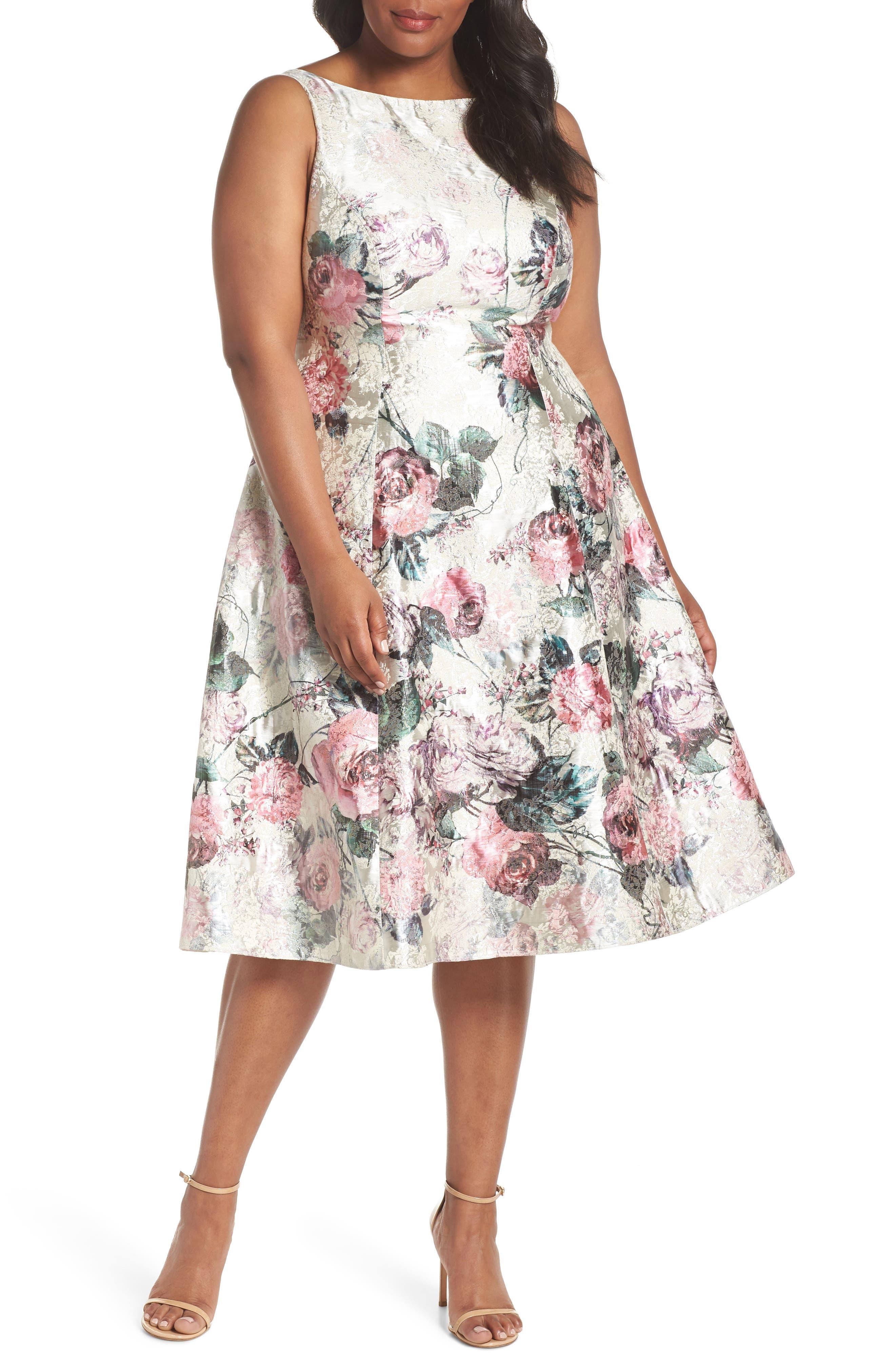 Print Jacquard Tea Length Dress,                         Main,                         color, 640