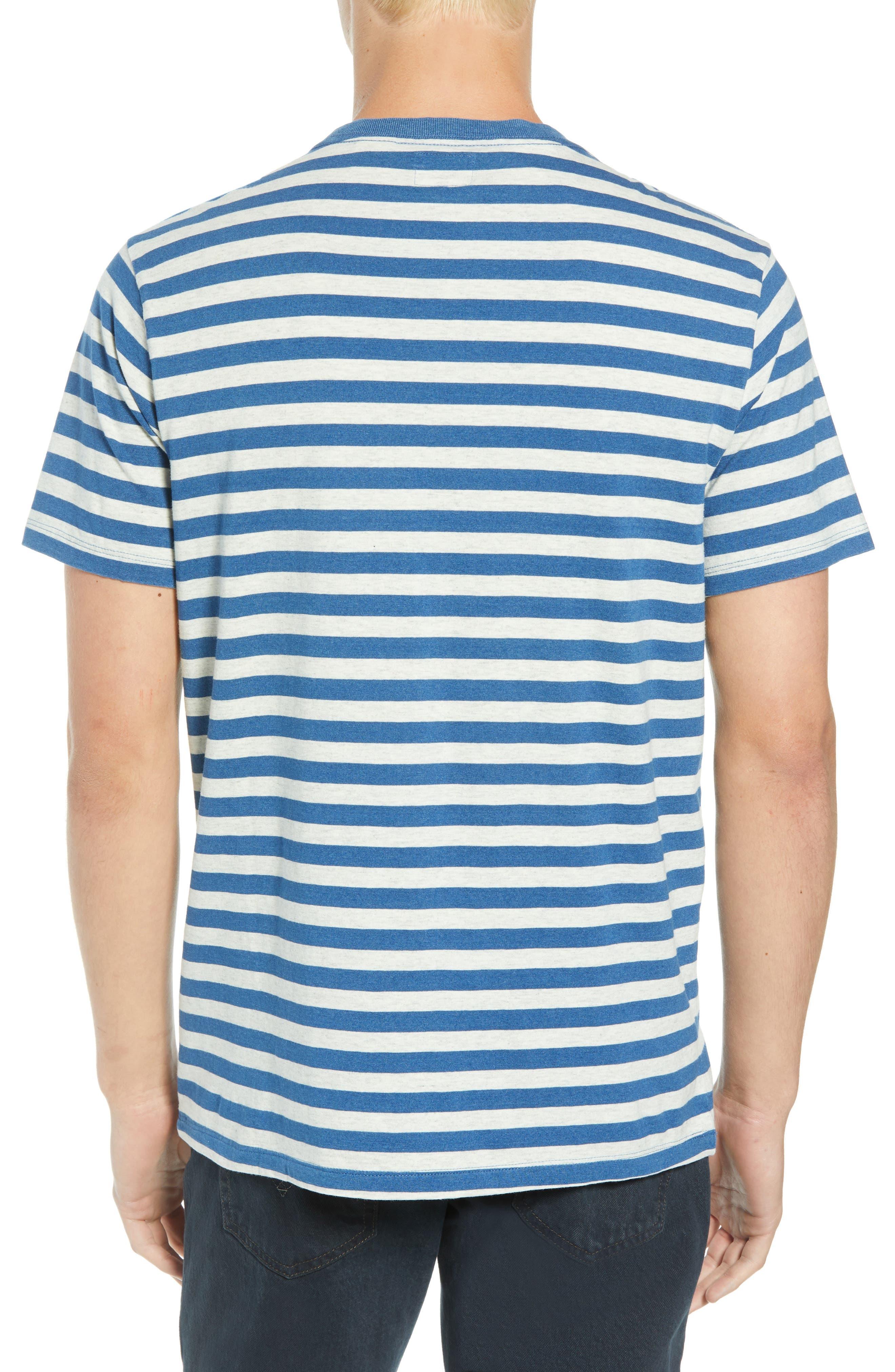 Sunset Stripe Pocket T-Shirt,                             Alternate thumbnail 2, color,                             CREAM HALF INCH STRIPE