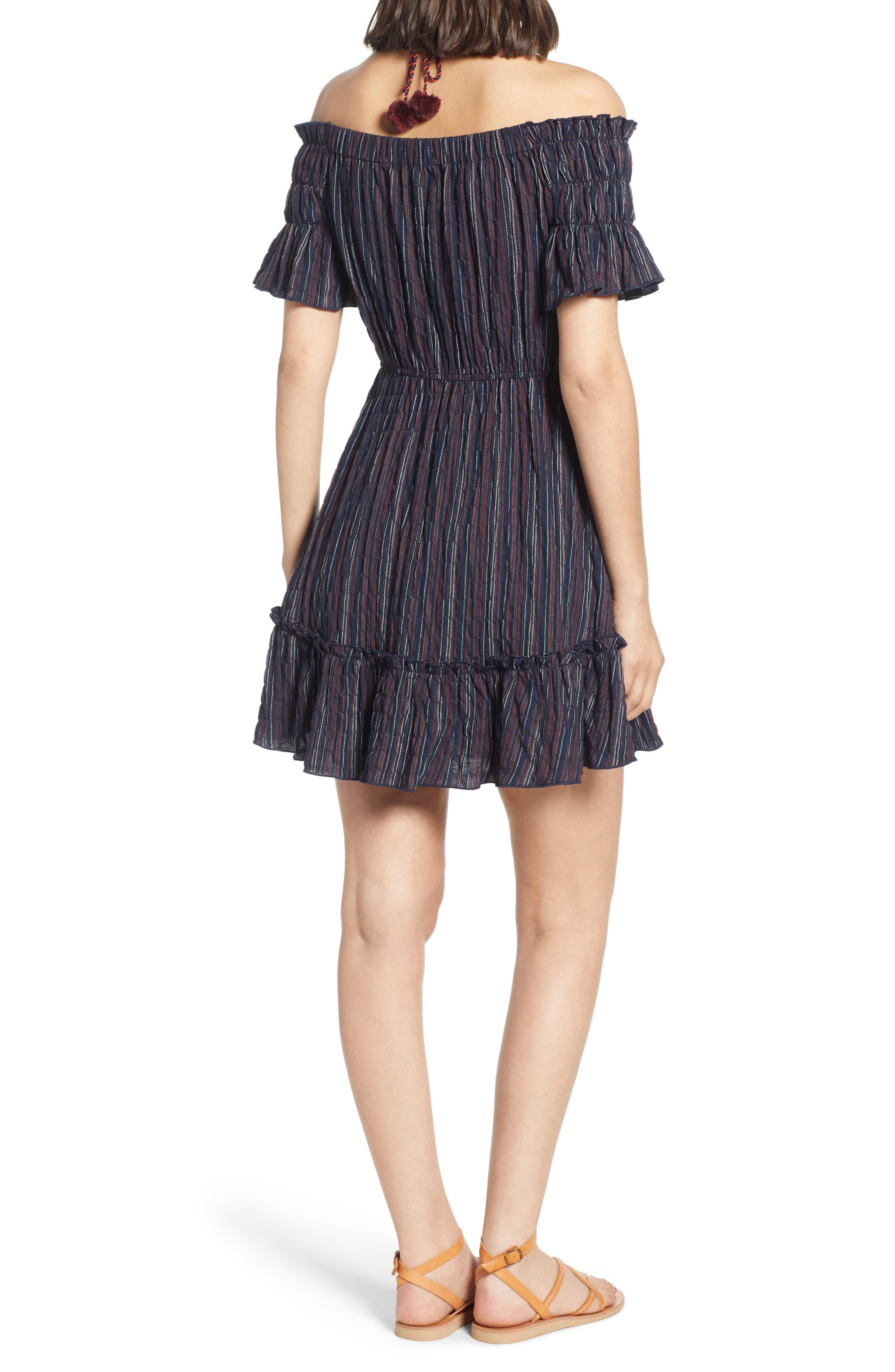 Stripe Off the Shoulder Dress,                             Alternate thumbnail 2, color,                             411