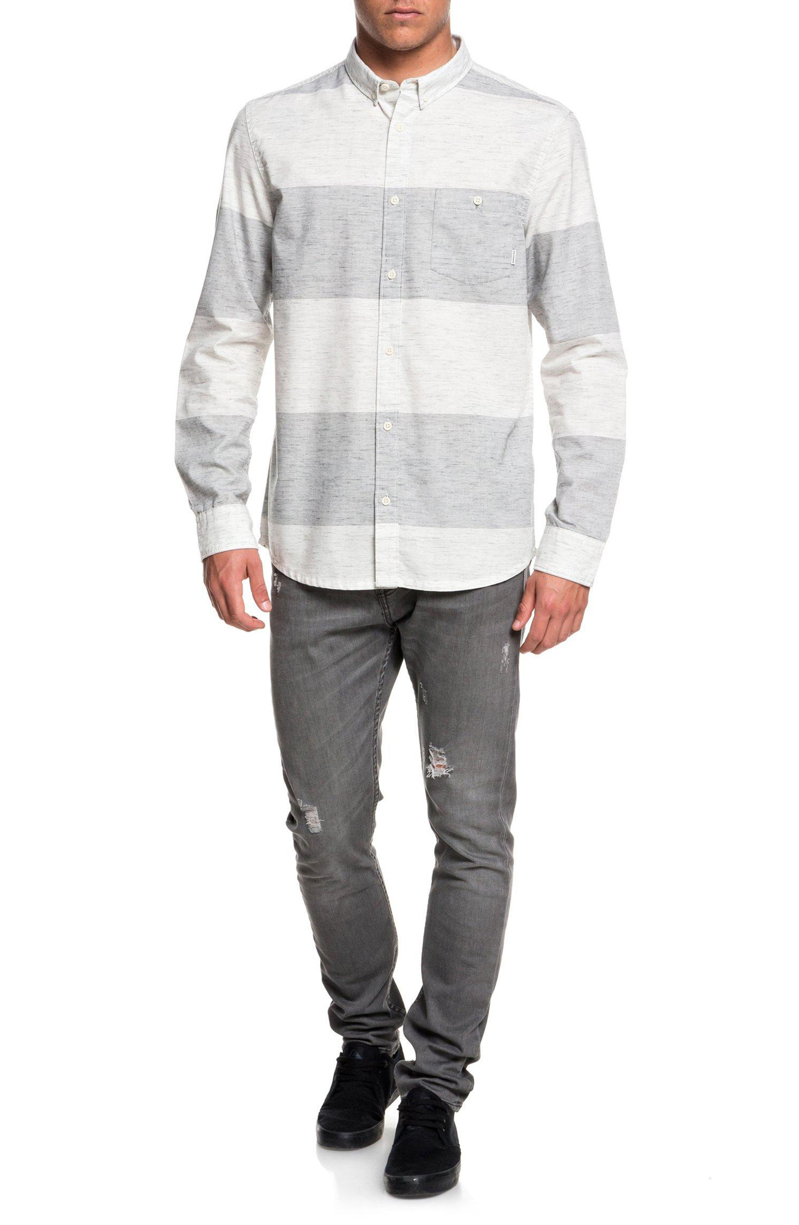 Minoo Valley Striped Shirt,                             Alternate thumbnail 4, color,                             IRON GATE MARBLE NEPPY