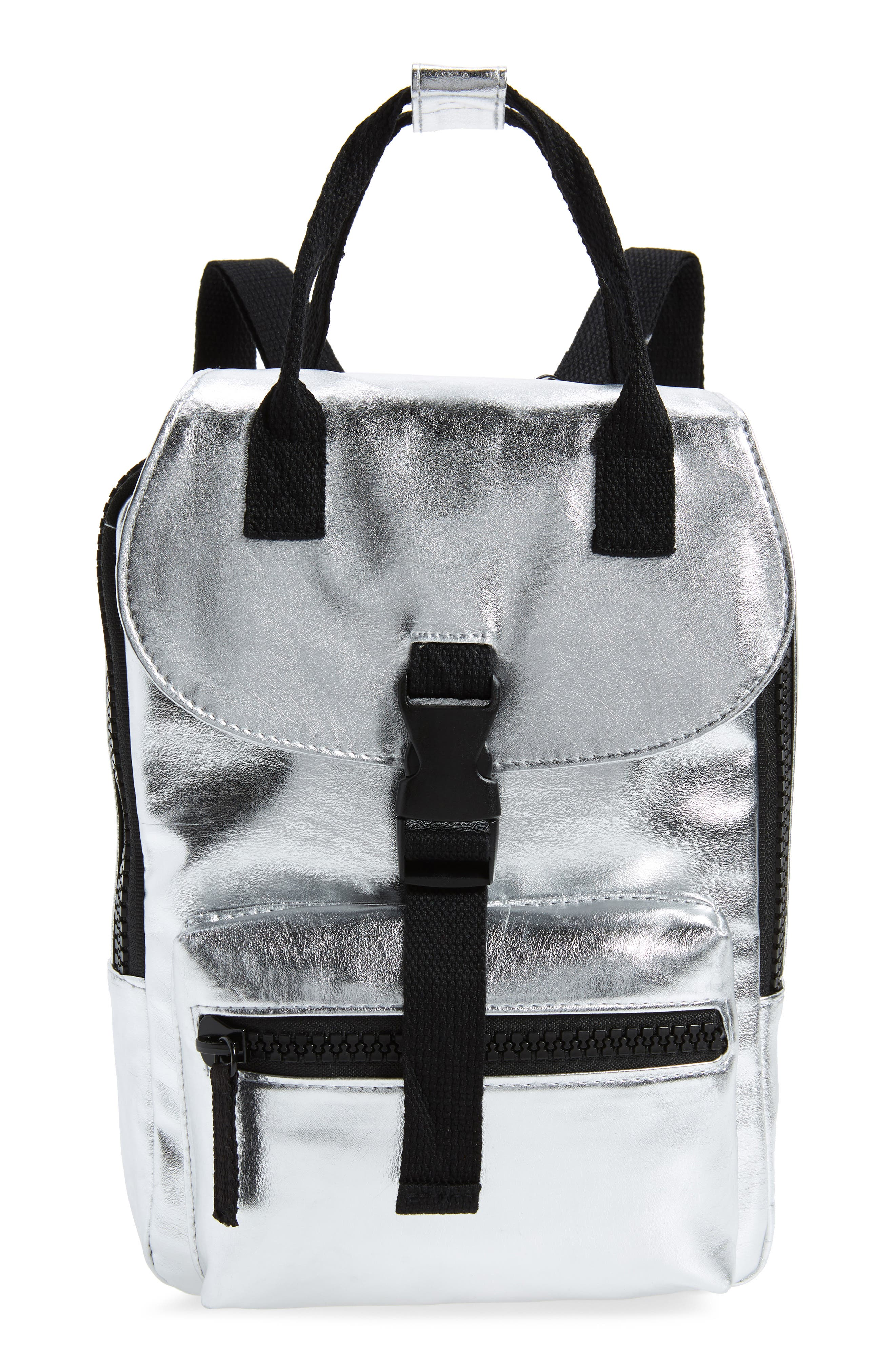 Mini Metallic Utility Backpack,                         Main,                         color, PEWTER