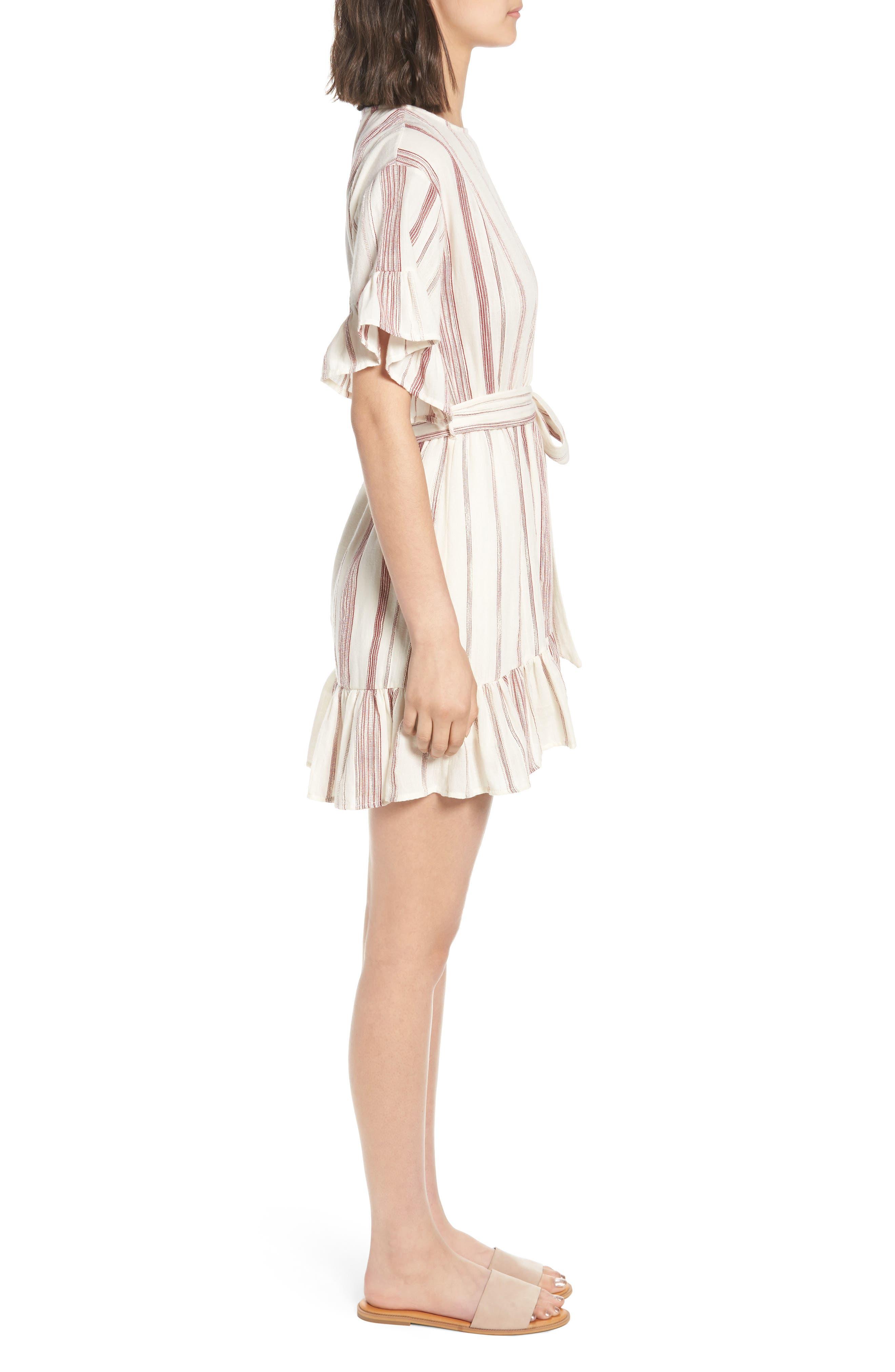 Marian Stripe Ruffle Minidress,                             Alternate thumbnail 3, color,                             600