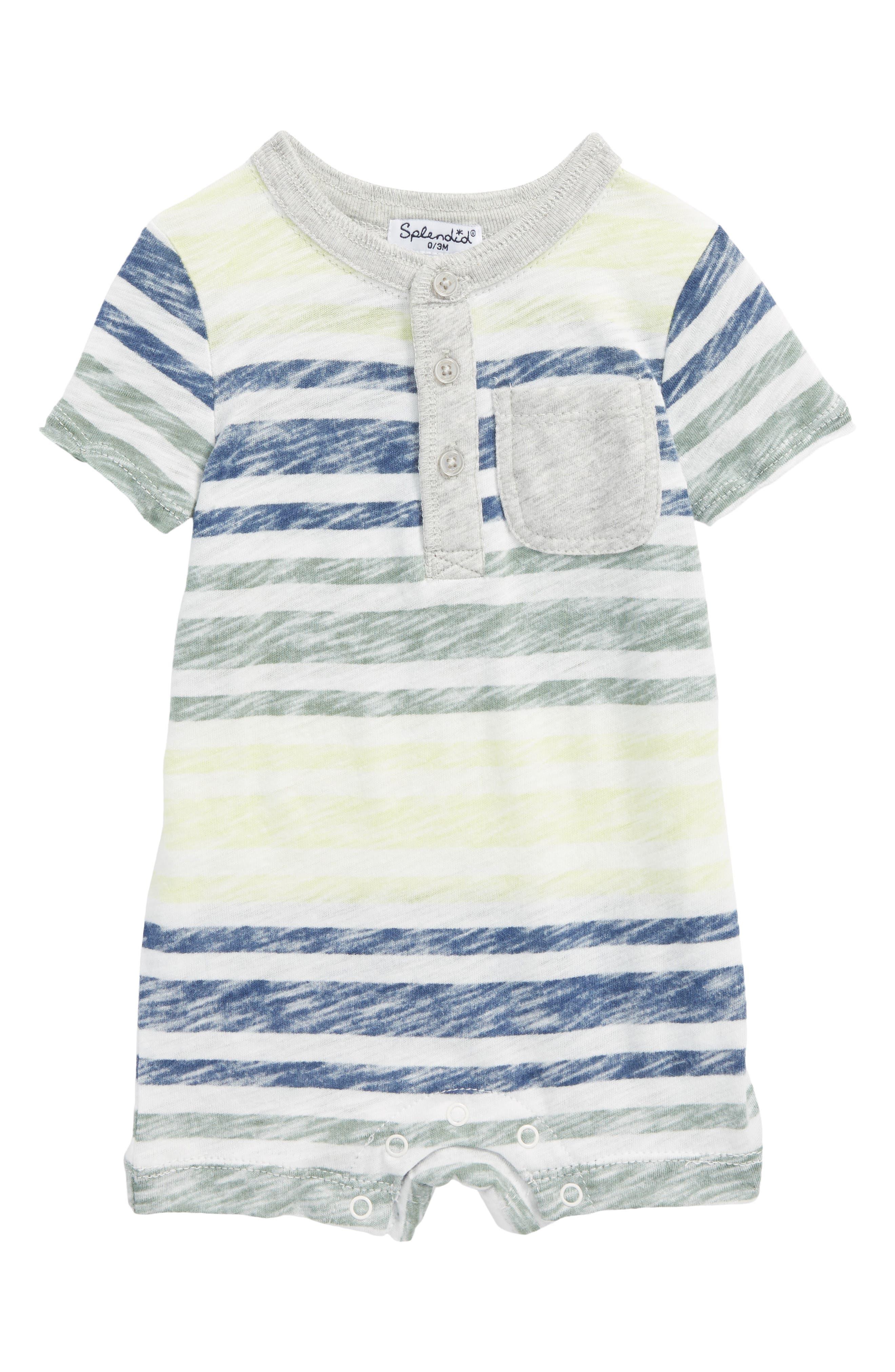 Reverse Stripe Romper,                         Main,                         color, 100