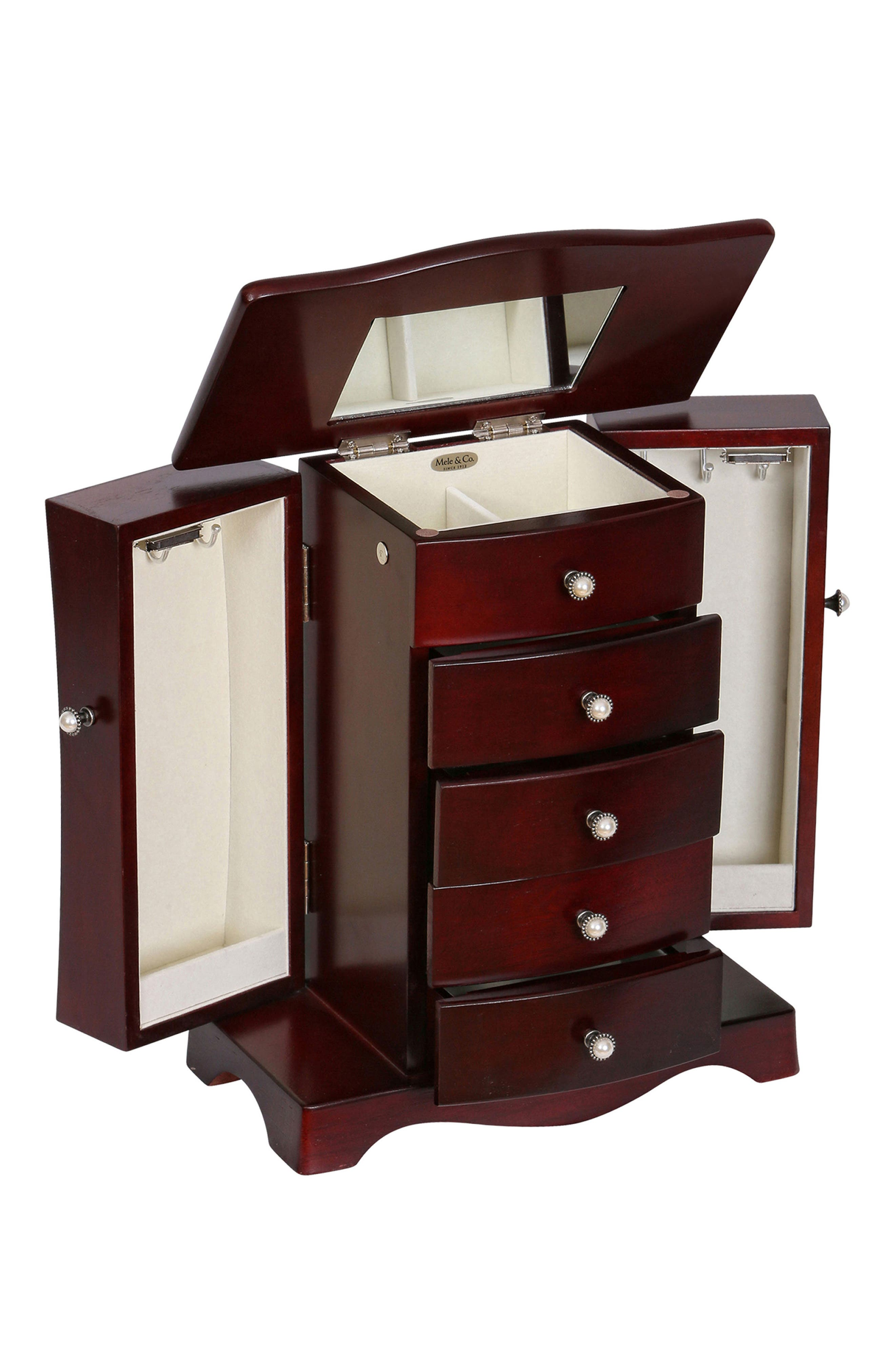 Bette Wooden Jewelry Box,                             Alternate thumbnail 3, color,                             BROWN