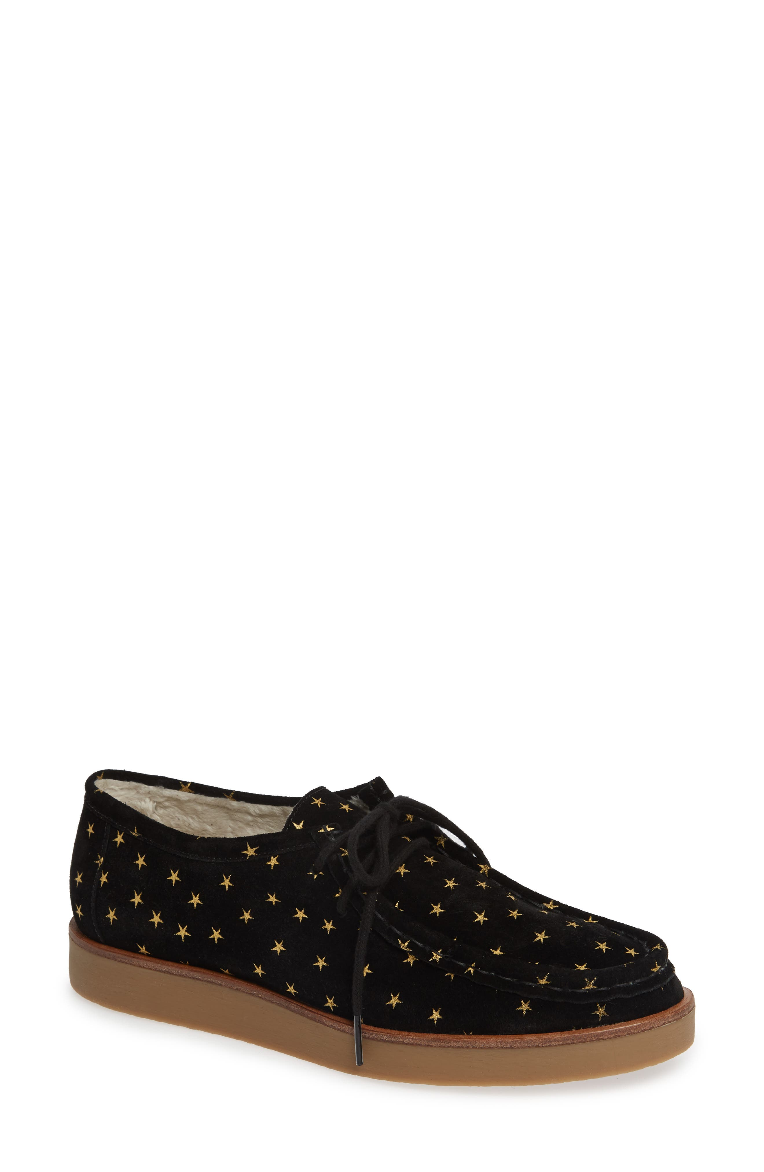 THE GREAT. The Scout Star Sneaker, Main, color, BLACK / GOLD STARS