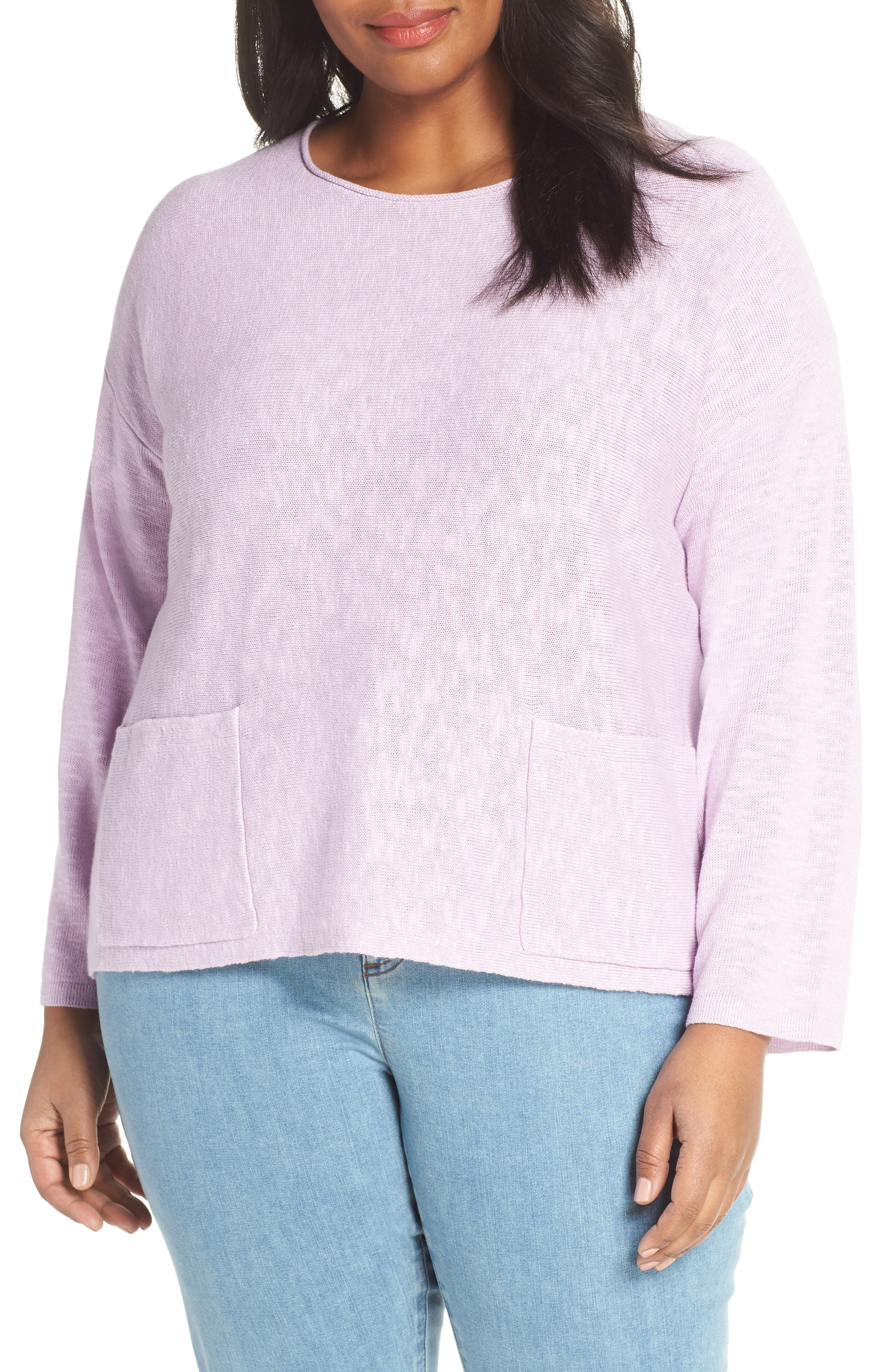 Round Neck Sweater, Main, color, MALLOW