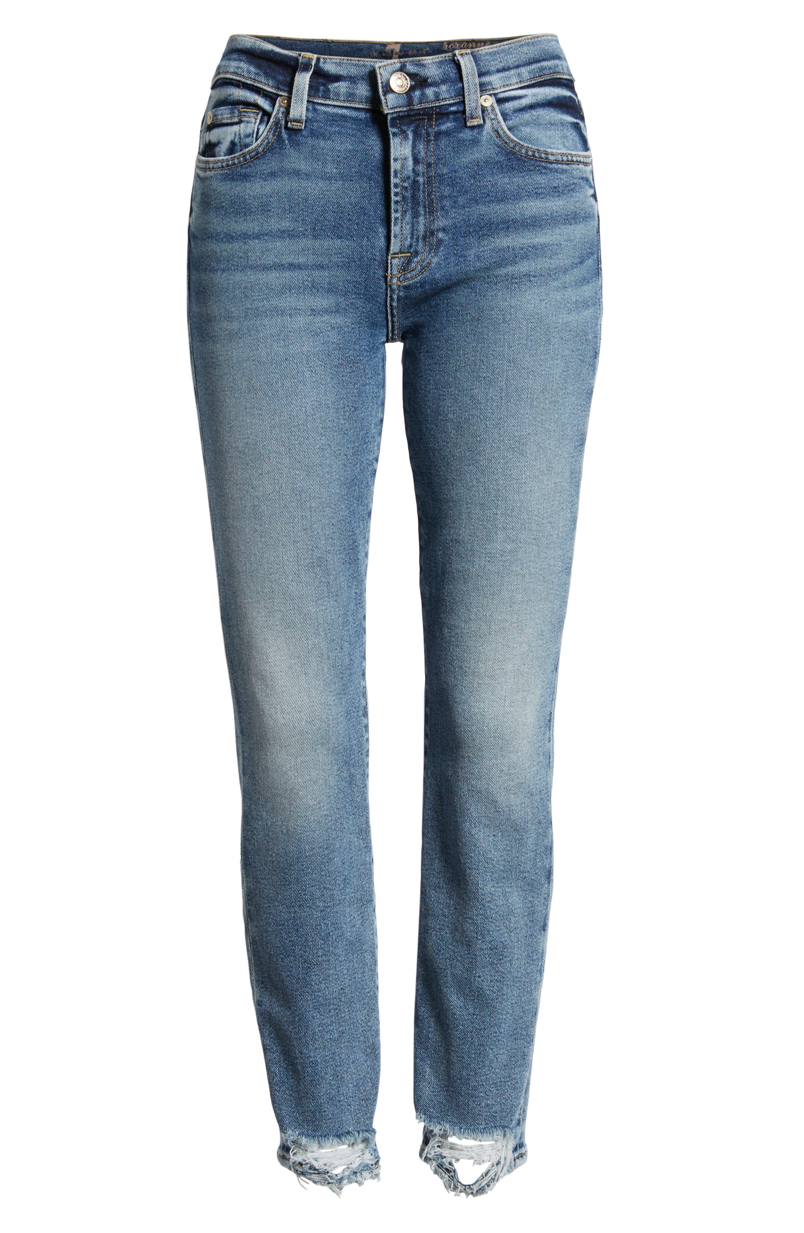 Luxe Vintage Roxanne Rip Hem Ankle Slim Jeans,                             Alternate thumbnail 7, color,                             401