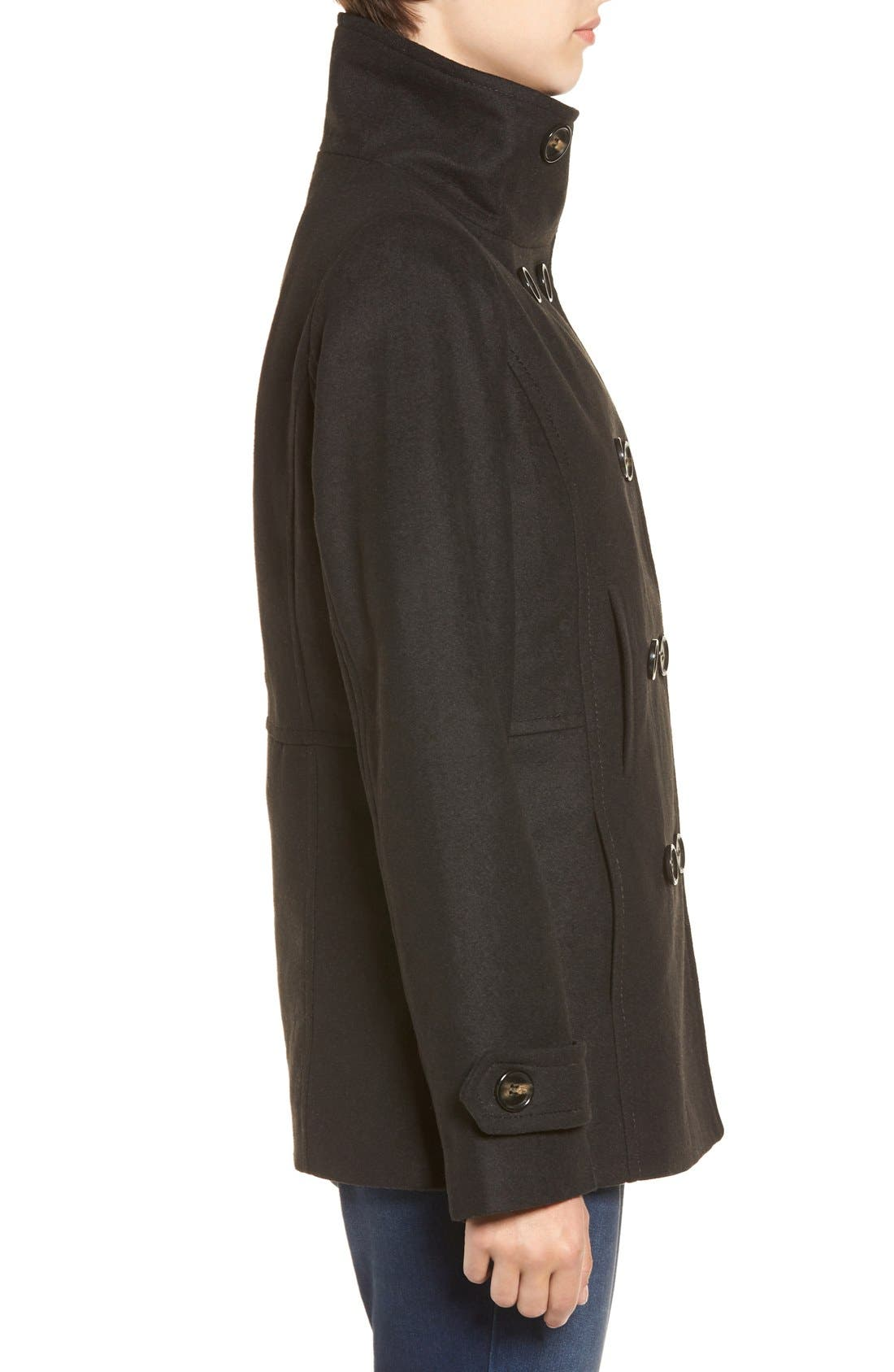 THREAD & SUPPLY,                             Double Breasted Peacoat,                             Alternate thumbnail 6, color,                             BLACK