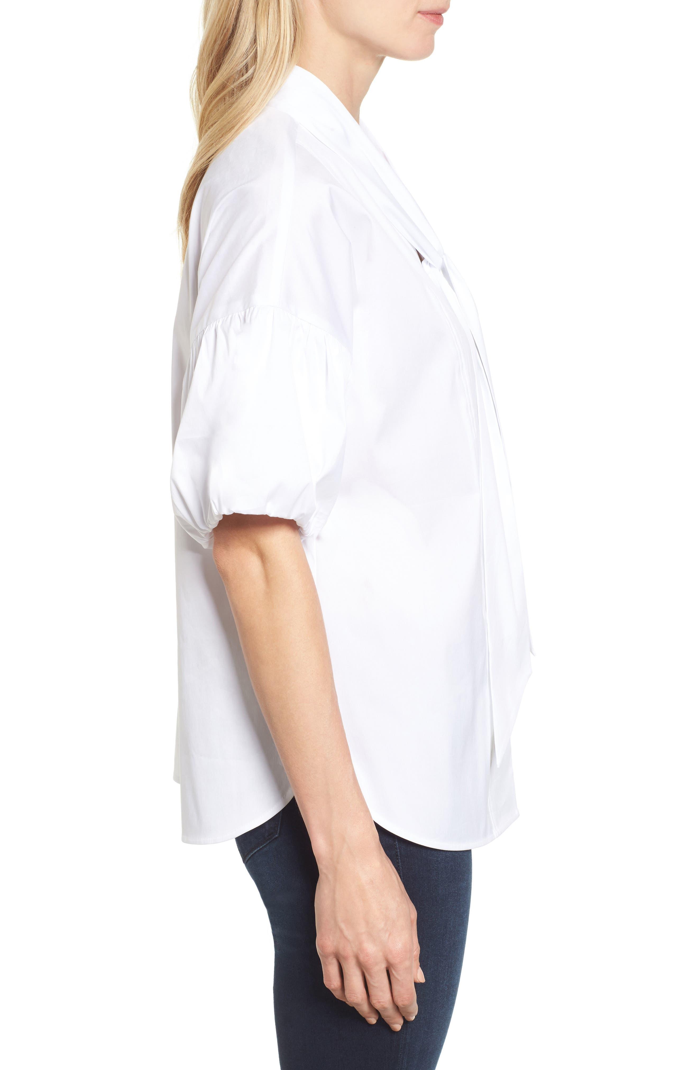 Tie Front Short Sleeve Blouse,                             Alternate thumbnail 3, color,                             100