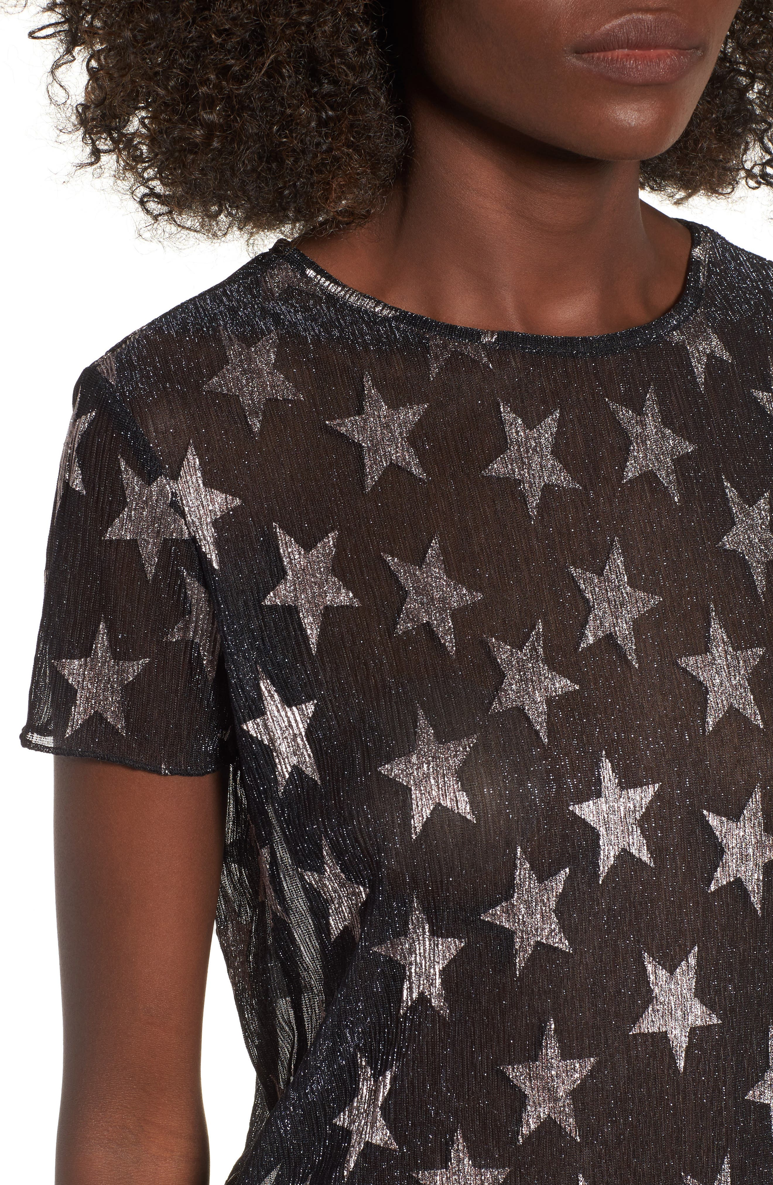Metallic Star Tee,                             Alternate thumbnail 4, color,                             001
