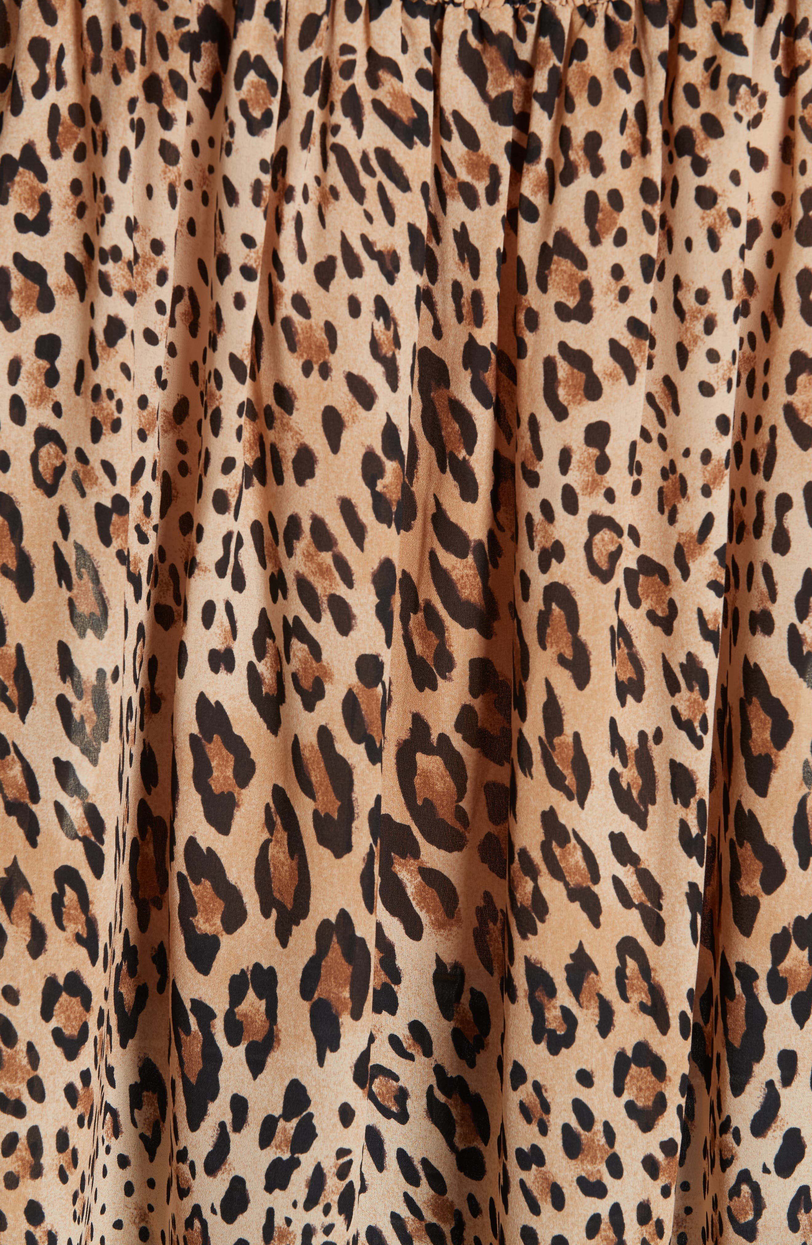 Leopard Print Smocked Silk Blouse,                             Alternate thumbnail 5, color,                             201