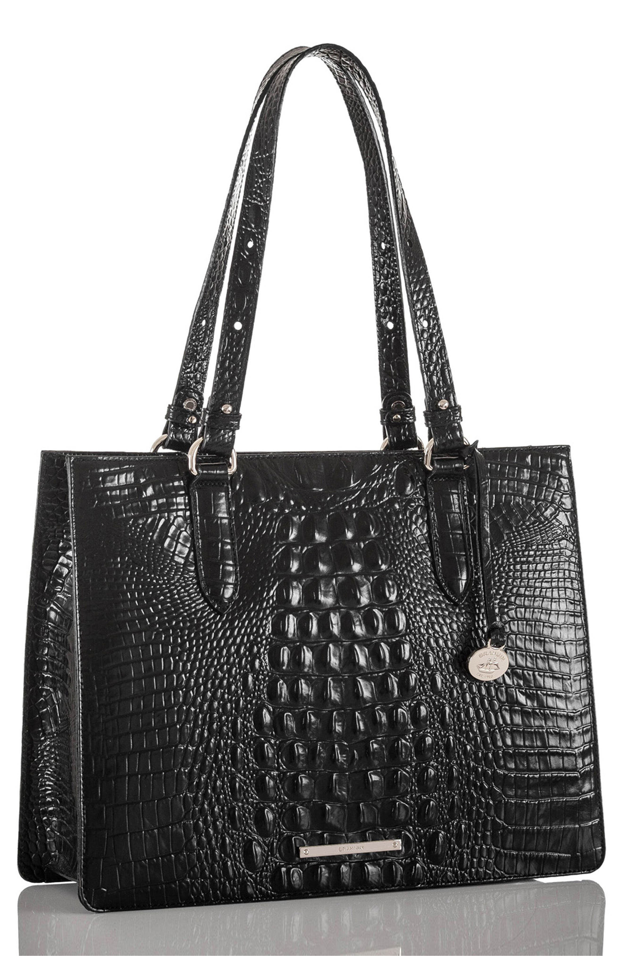 Medium Camille Leather Tote,                             Alternate thumbnail 4, color,                             001