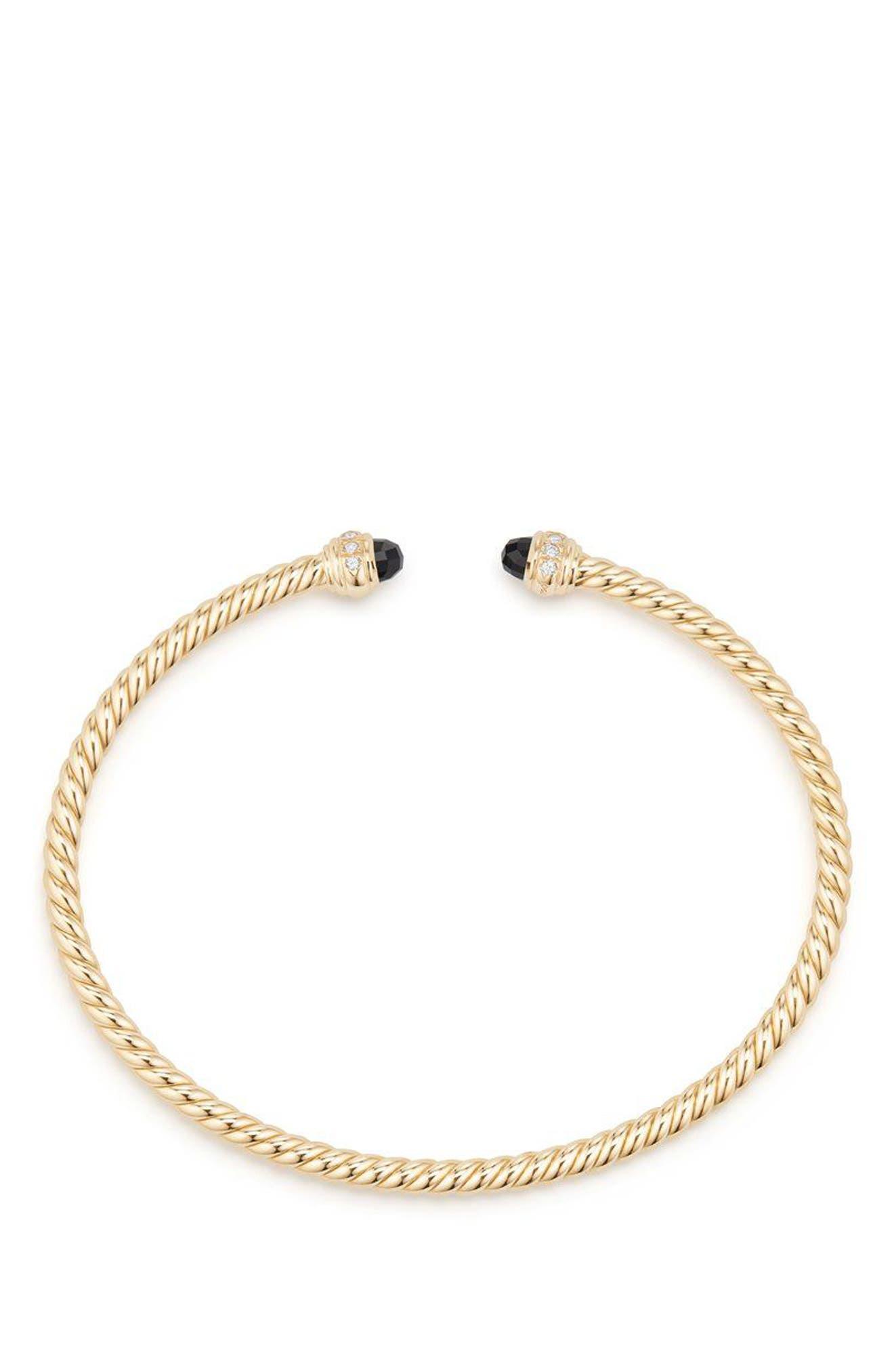 Cable Spira Bracelet in 18K Gold with Diamonds, 3mm,                             Alternate thumbnail 2, color,                             GOLD/ DIAMOND/ BLACK ONYX