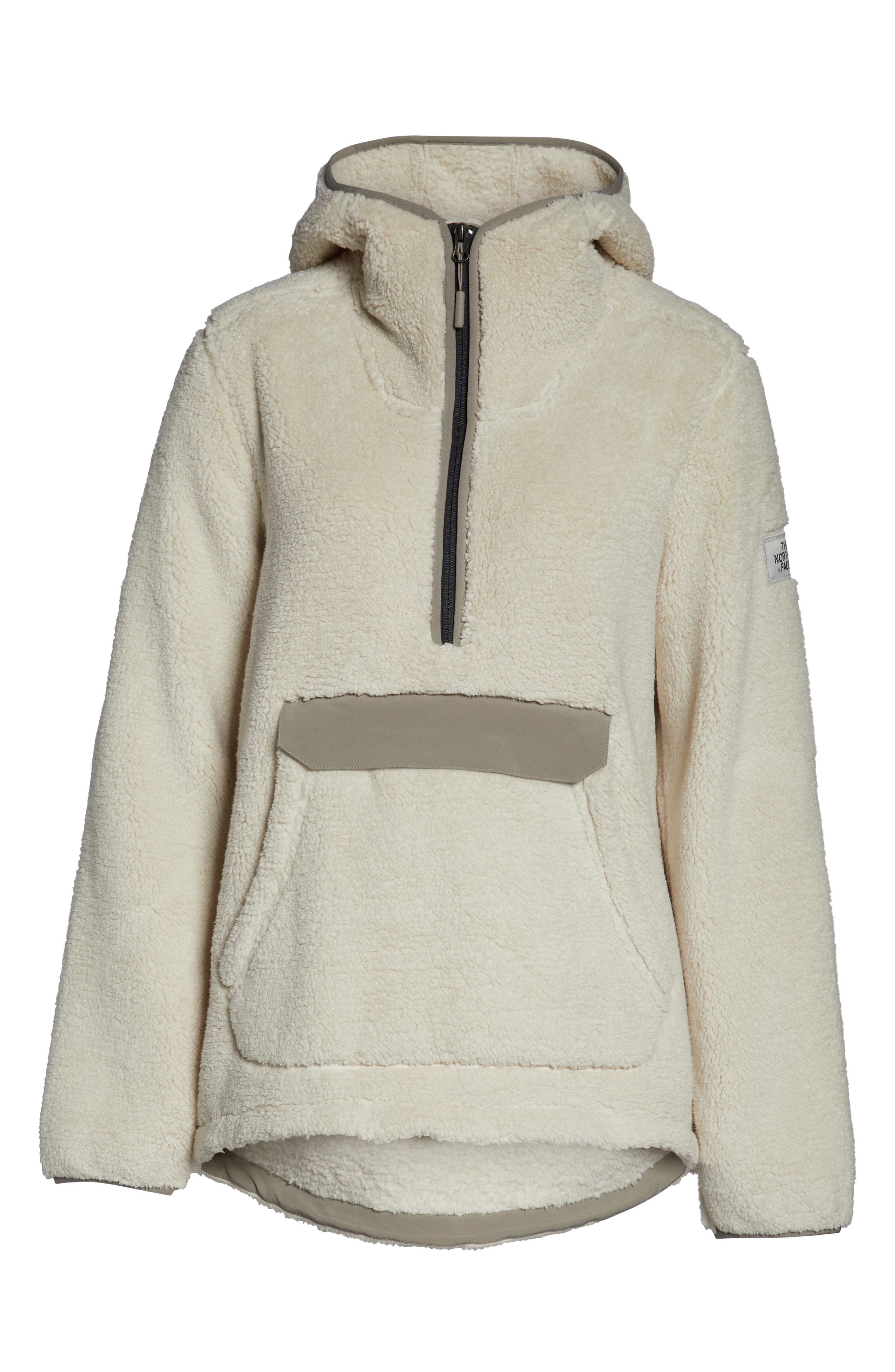 THE NORTH FACE,                             Campshire High Pile Fleece Pullover Hoodie,                             Alternate thumbnail 7, color,                             VINTAGE WHITE/ GREY