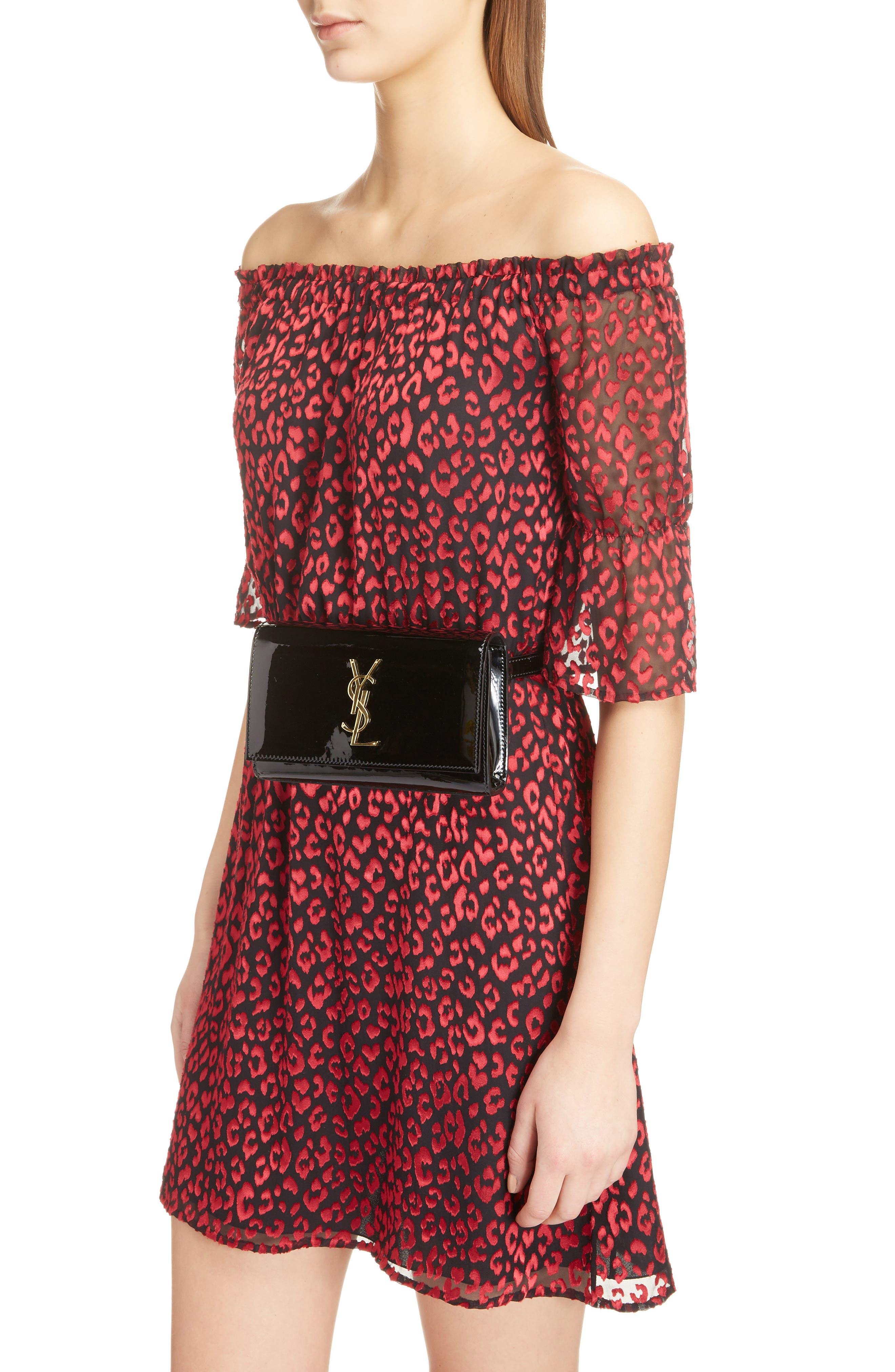 SAINT LAURENT,                             Kate Patent Leather Belt Bag,                             Alternate thumbnail 2, color,                             NOIR
