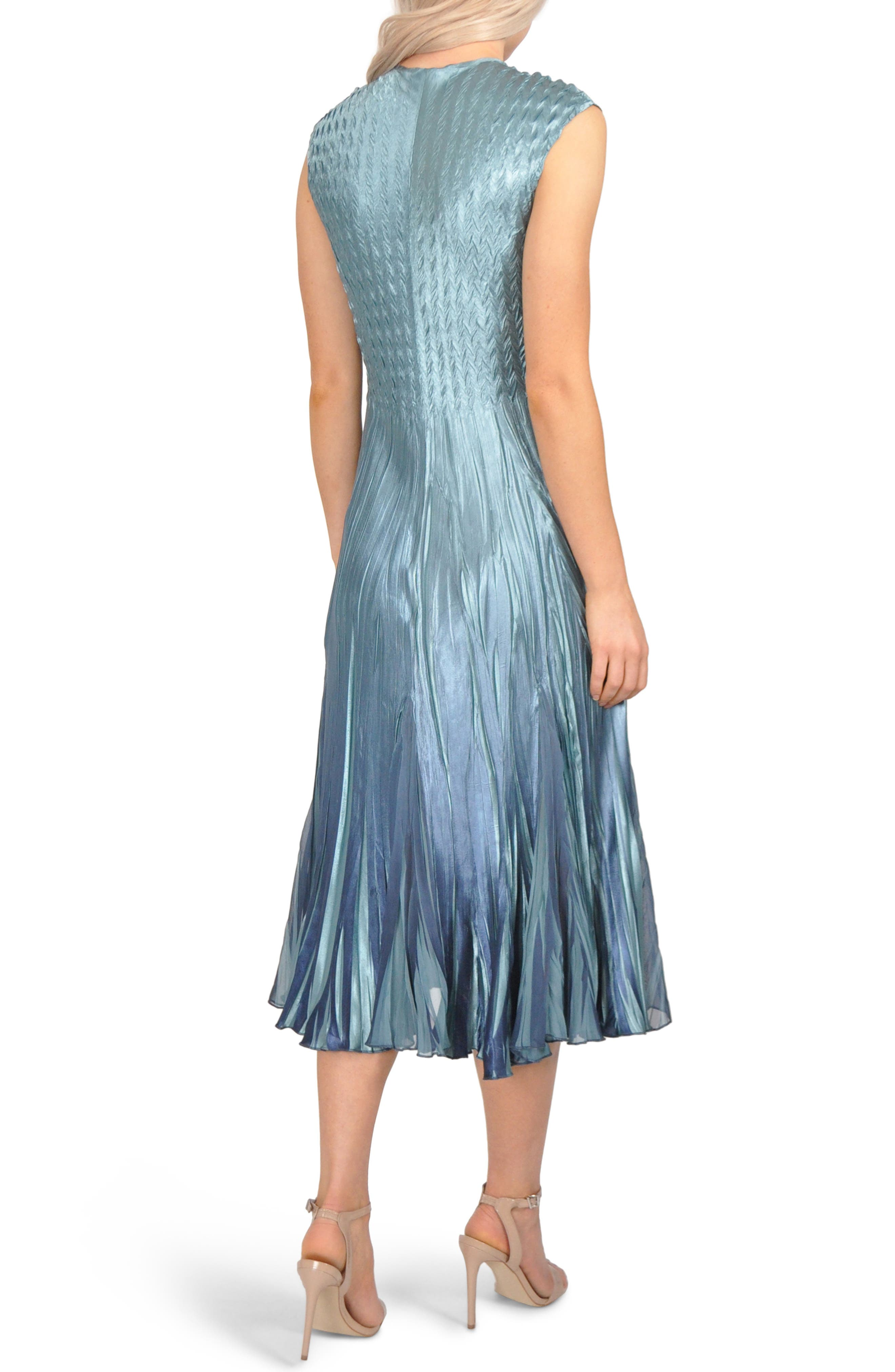 Embellished Pleat Mixed Media Dress with Jacket,                             Alternate thumbnail 5, color,                             SILVER BLUE OMBRE