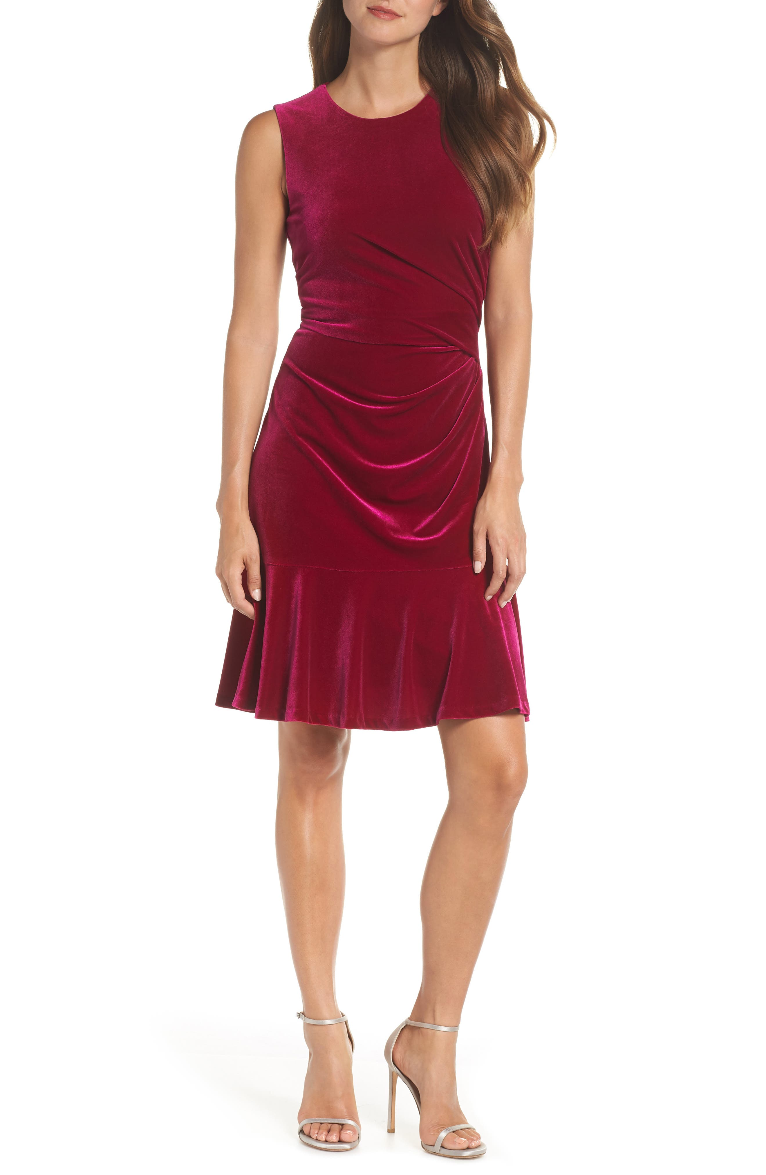 Draped Velvet Sheath Dress,                             Main thumbnail 1, color,                             FUCHSIA