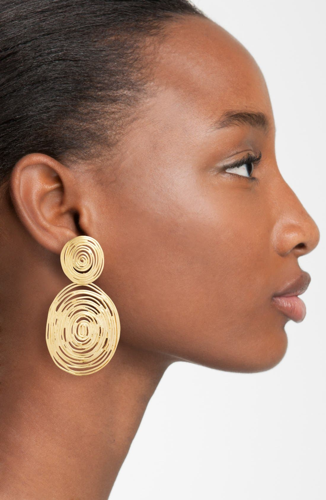 Wave Double Drop Earrings,                             Alternate thumbnail 3, color,                             GOLD