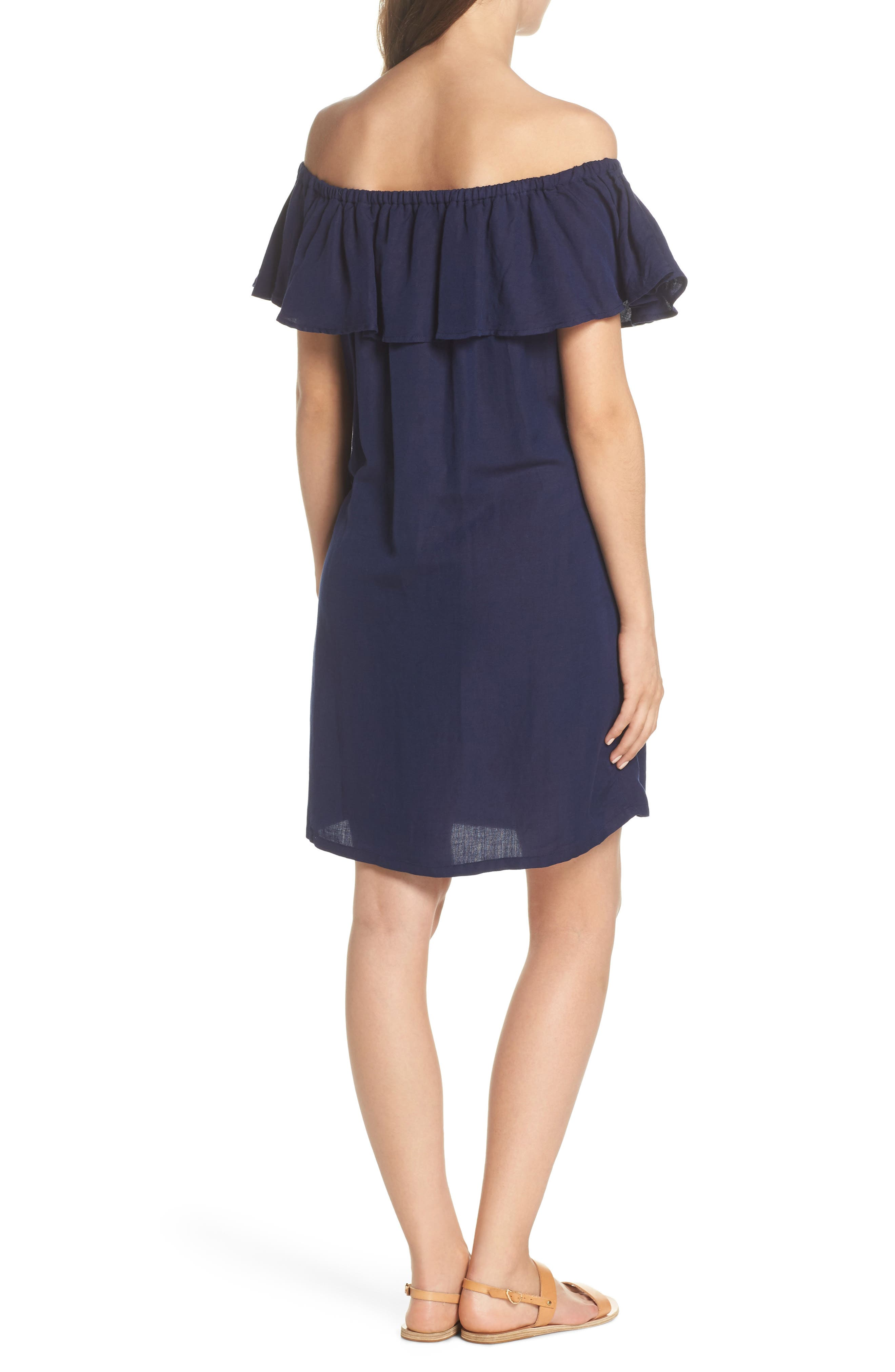 Off the Shoulder Cover-Up Dress,                             Alternate thumbnail 2, color,                             MARE BLUE