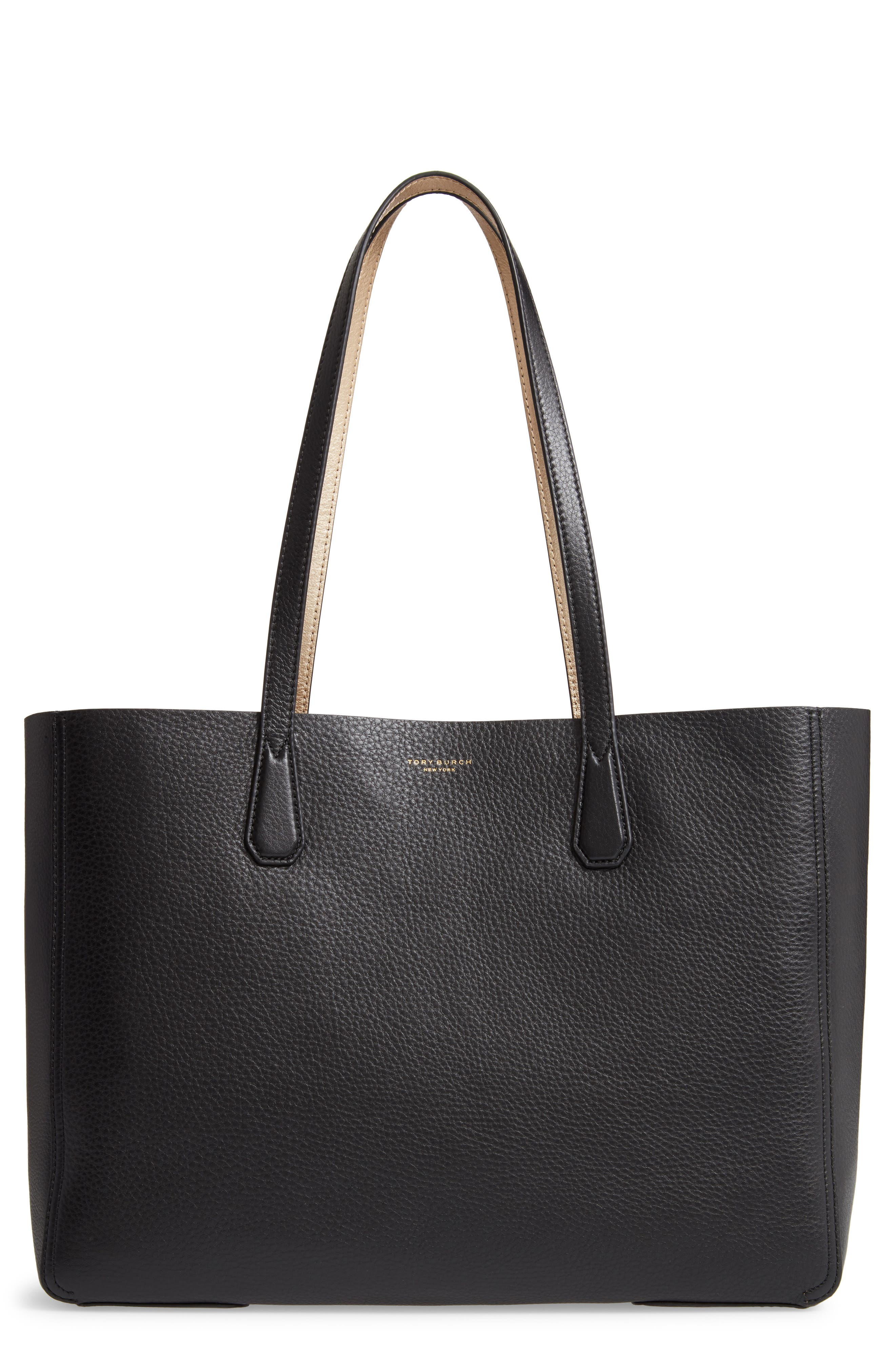 Perry Leather Tote, Main, color, 001