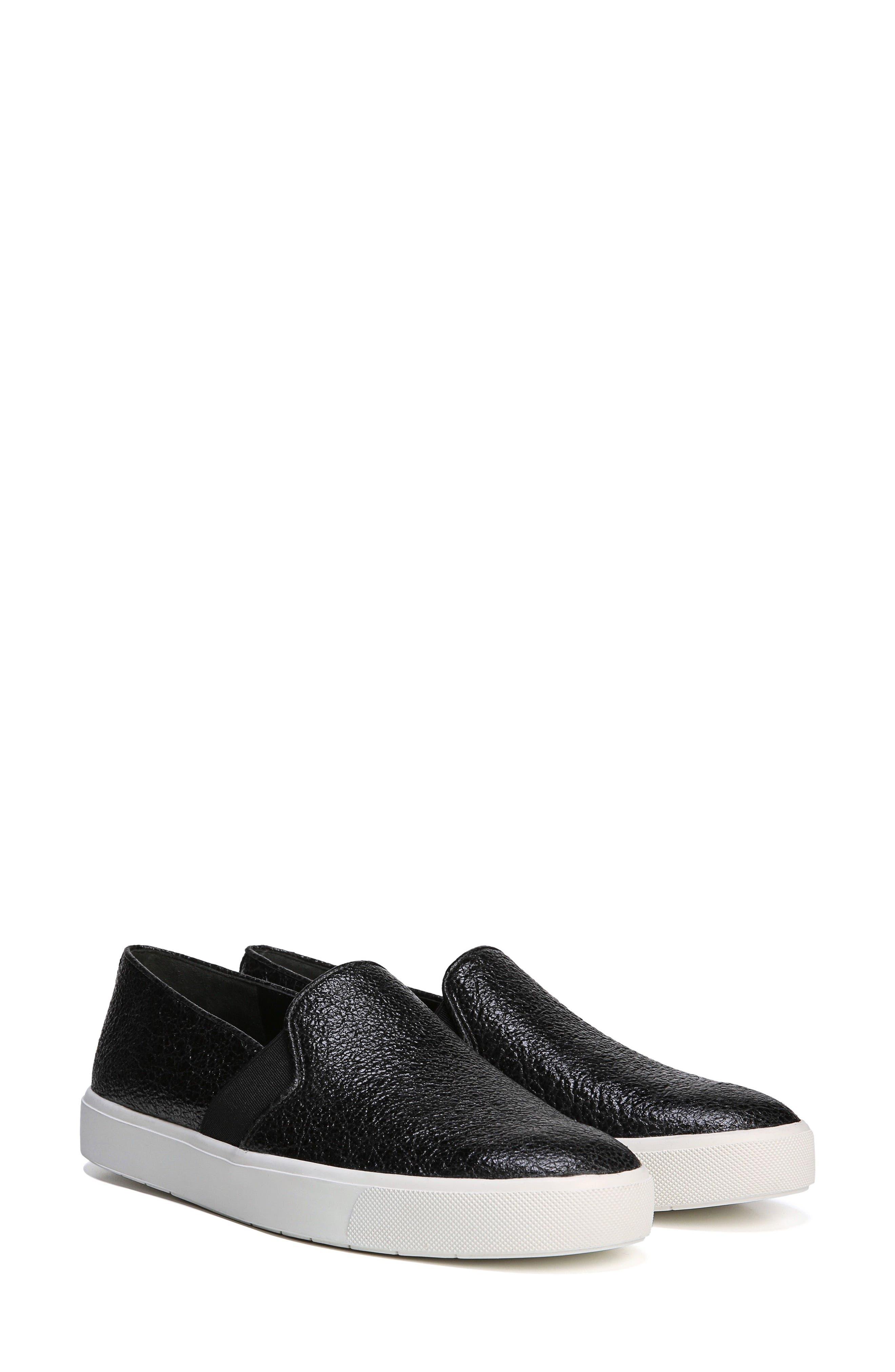 'Blair 12' Leather Slip-On Sneaker,                             Alternate thumbnail 7, color,                             BLACK LEATHER