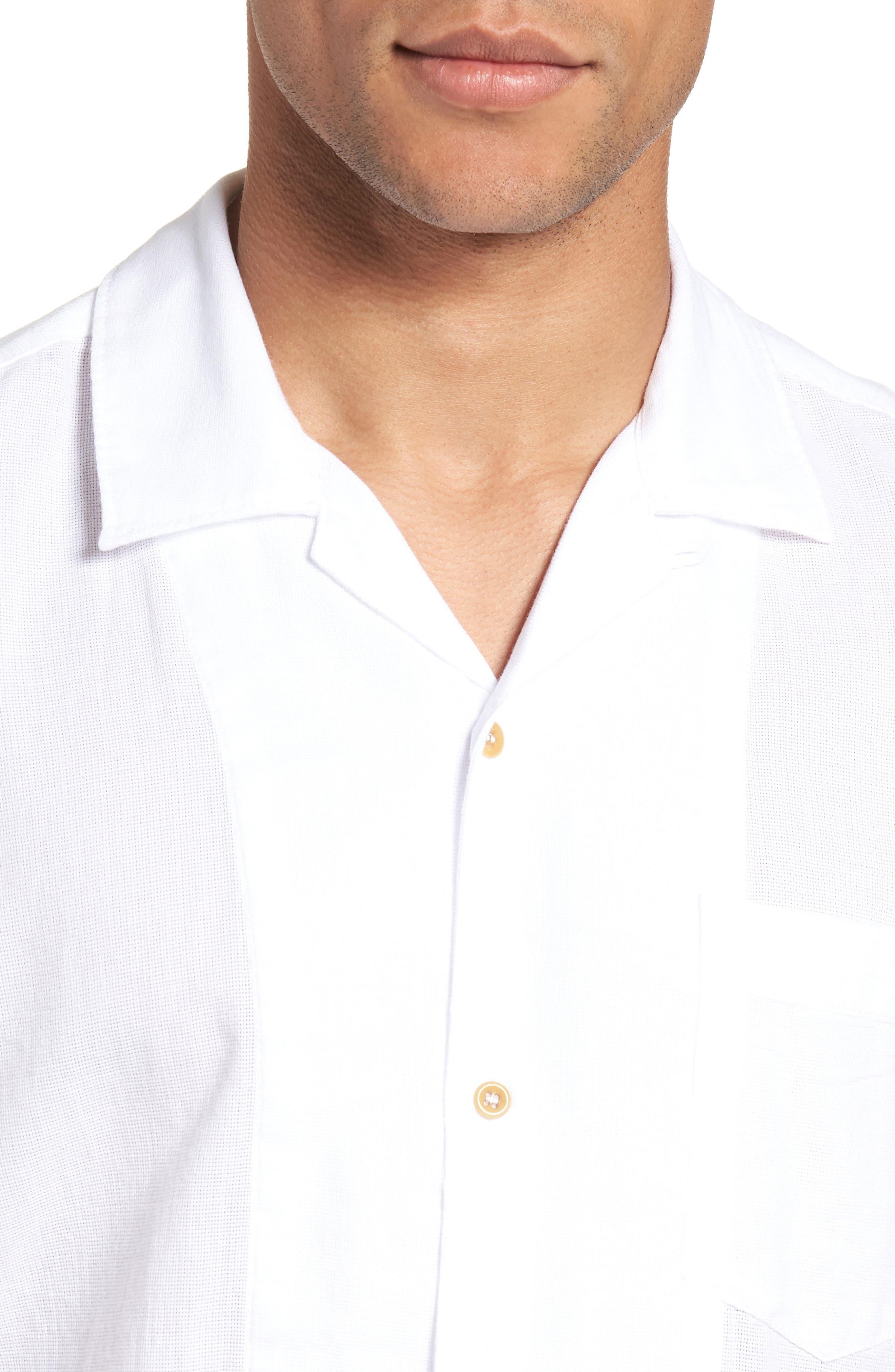 Regular Fit Textured Dobby Camp Shirt,                             Alternate thumbnail 4, color,                             100