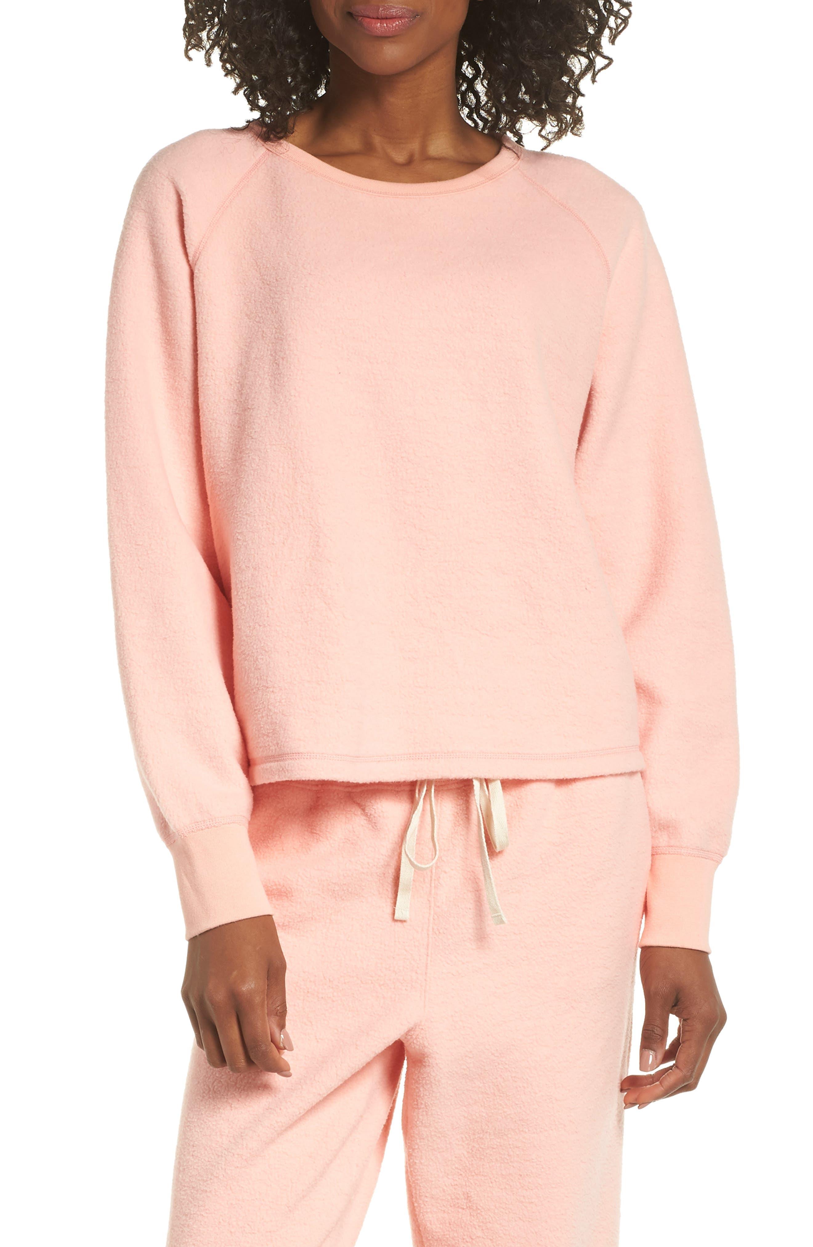 Madewell Fleece Pajama Sweatshirt, Pink