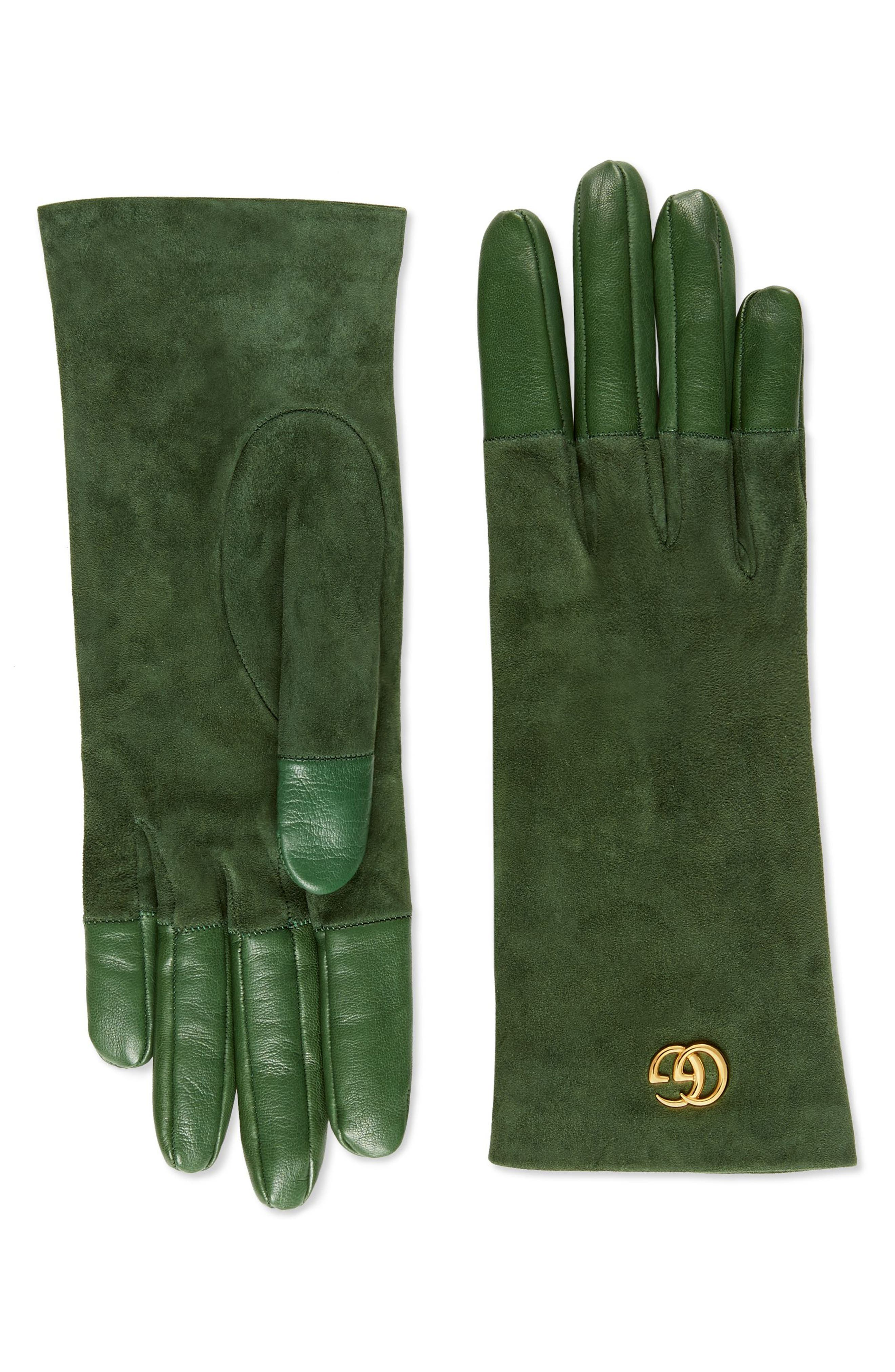 Gucci Viola Suede & Leather Gloves - Green